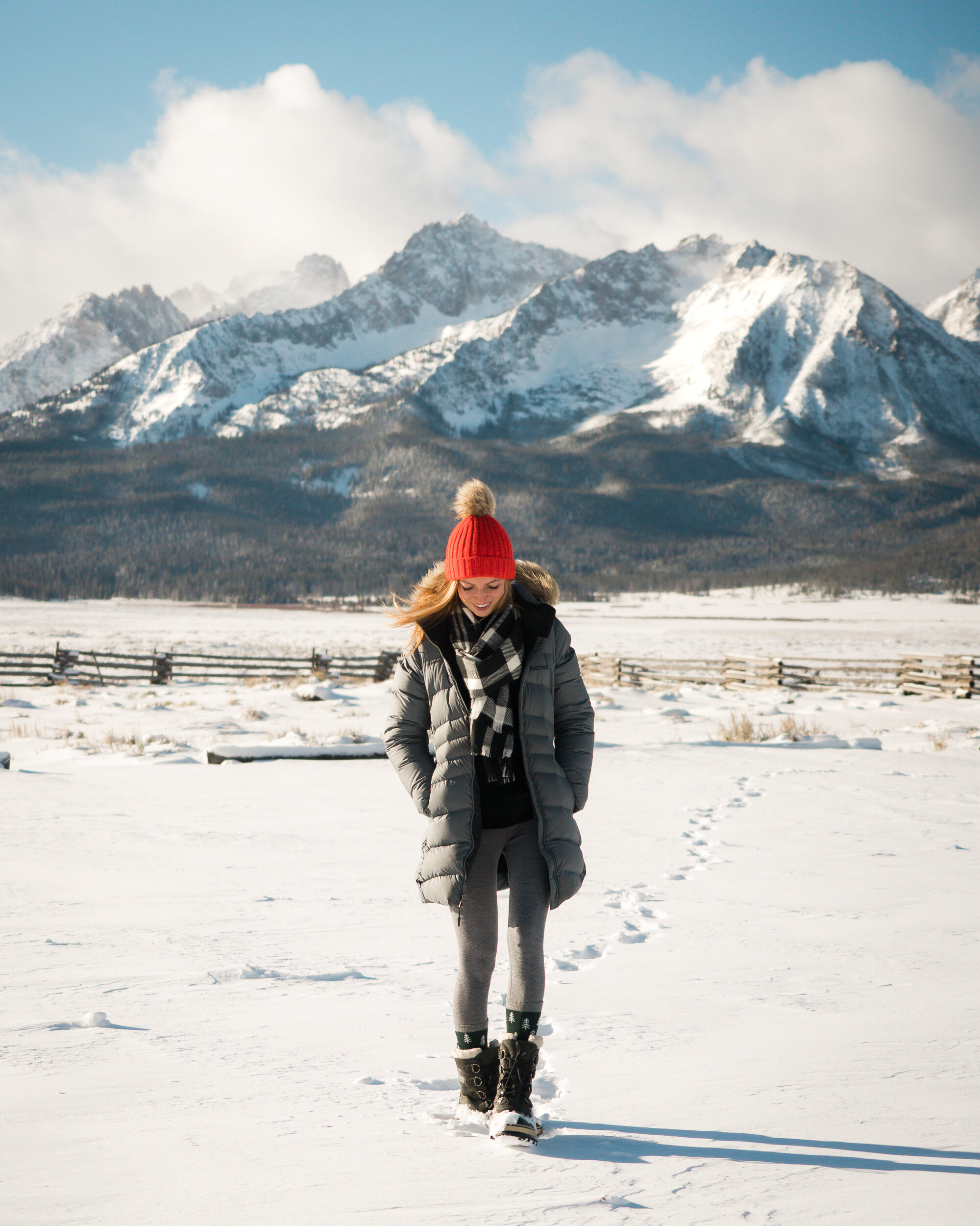 Wearing: Marmot Montreal  Jacket , and Sorel Caribou  Boots .