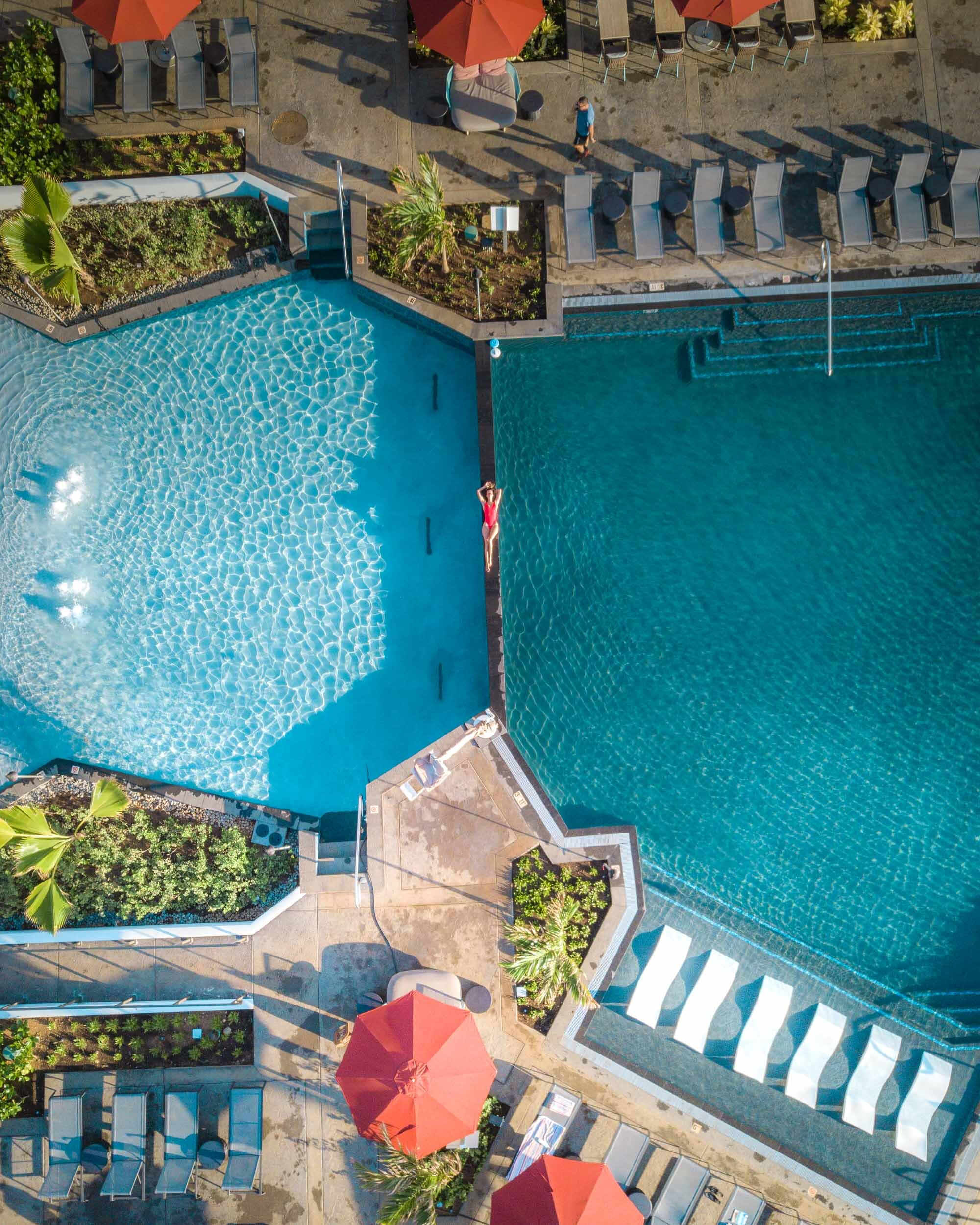 Aerial view of the pool area at Sheraton Kauai Coconut Beach Resort.