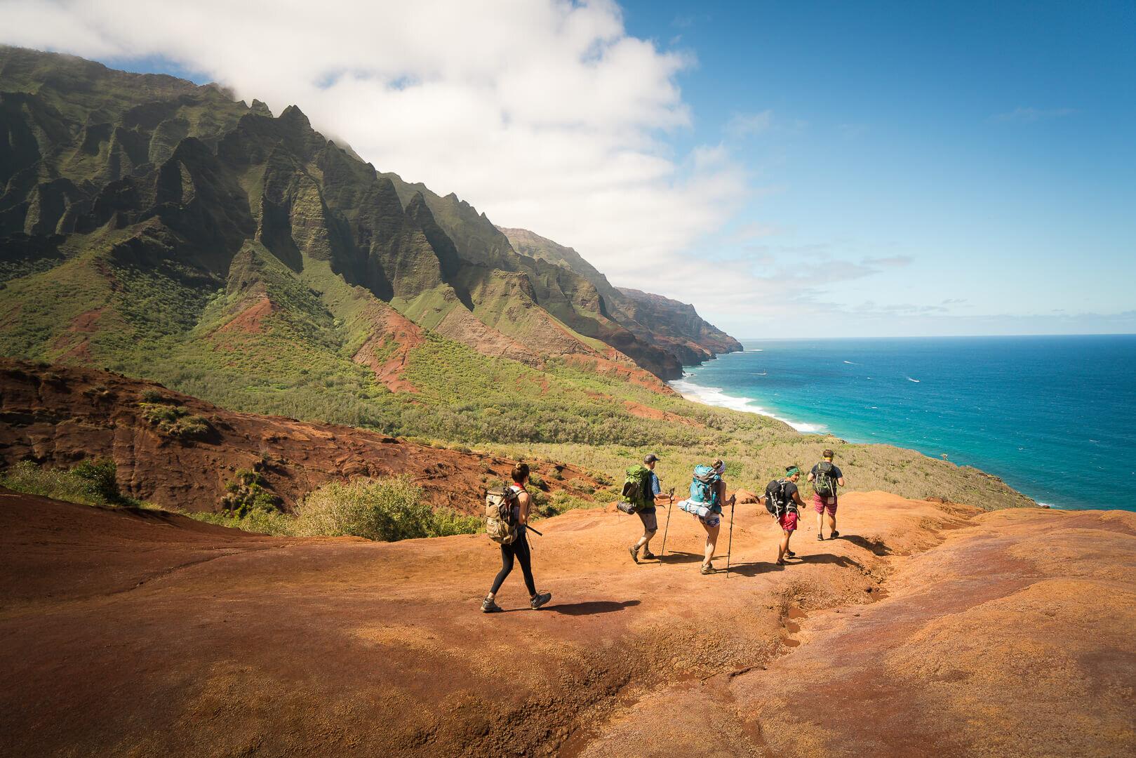 Hiking along the Kalalau Trail in Kauai.