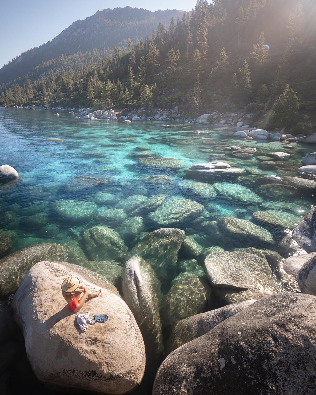 Sunbathing on the rocks at Lake Tahoe.