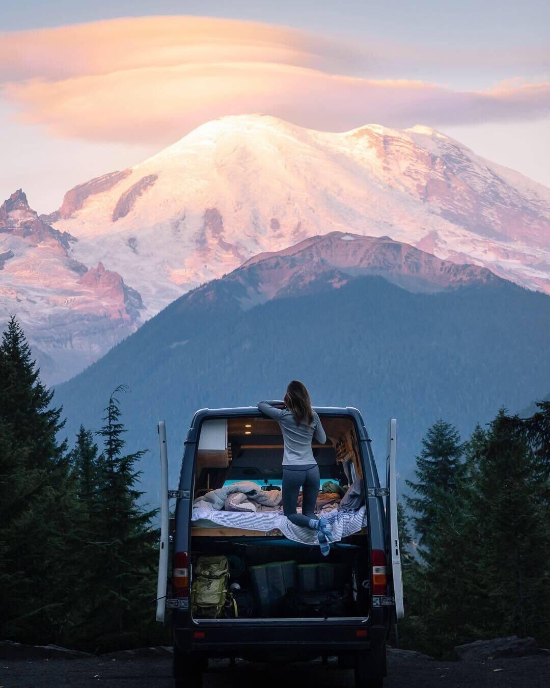 Enjoying views of Mount Rainier at sunrise.