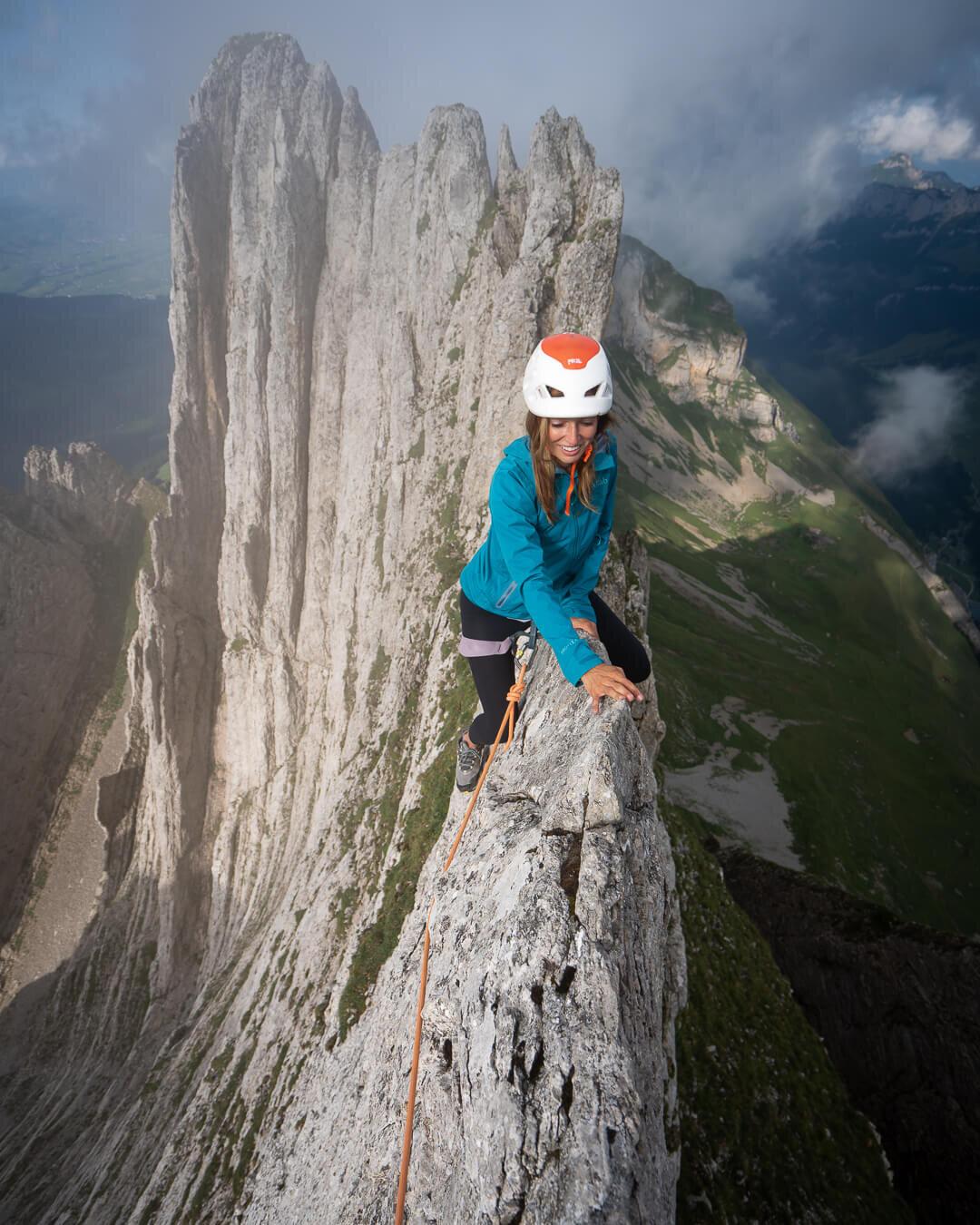 Scrambling along a ridge in the Alpstein region of Switzerland.