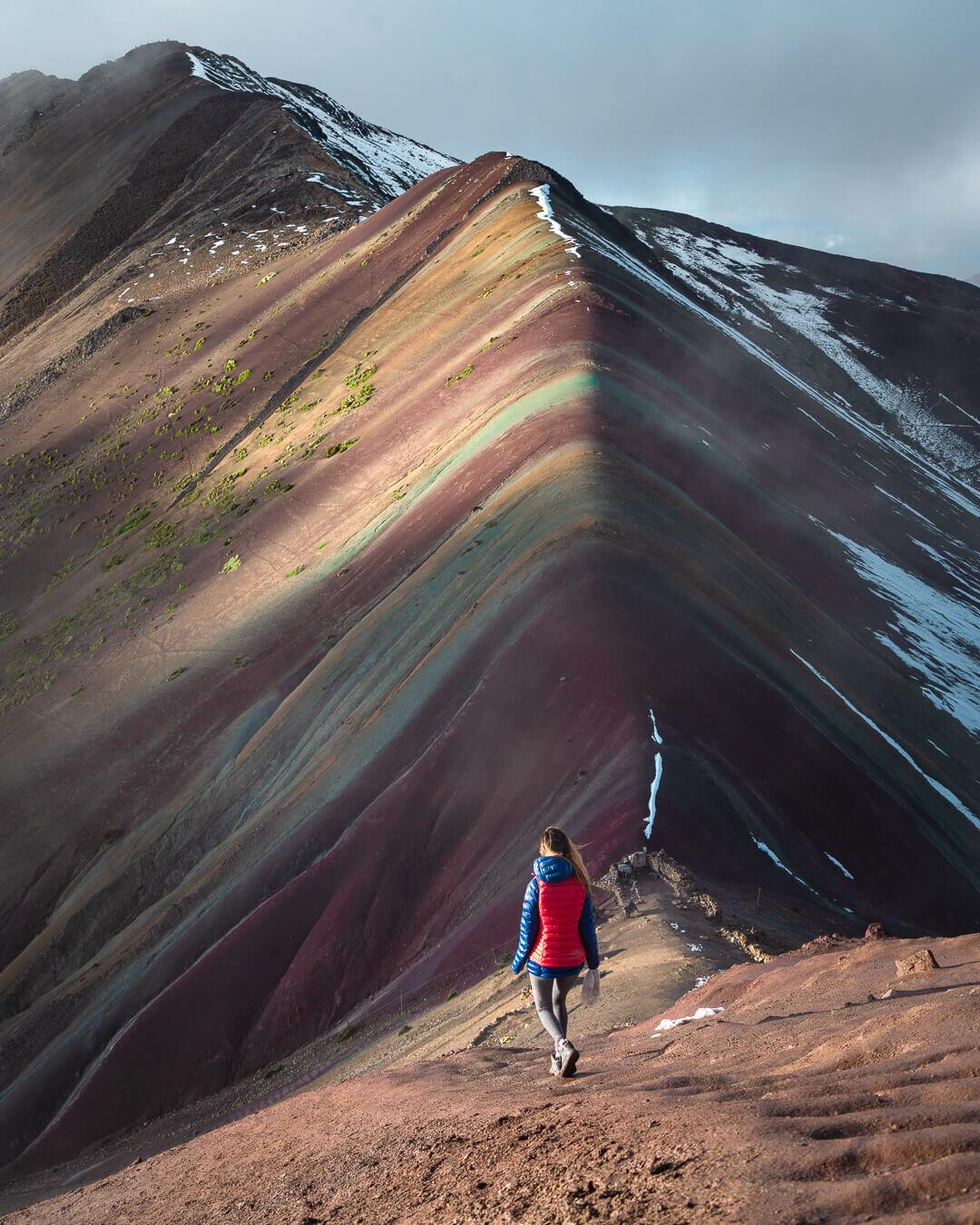 Rainbow Mountain hike at sunrise.