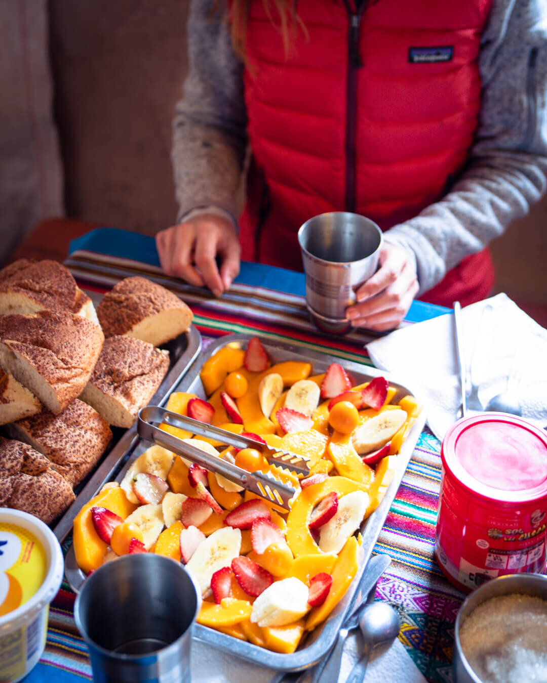 Typical breakfast on the Ausangate trail in Peru. And this was just the first course!