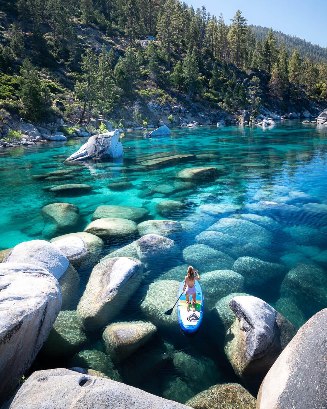 Paddle boarding at Lake Tahoe.