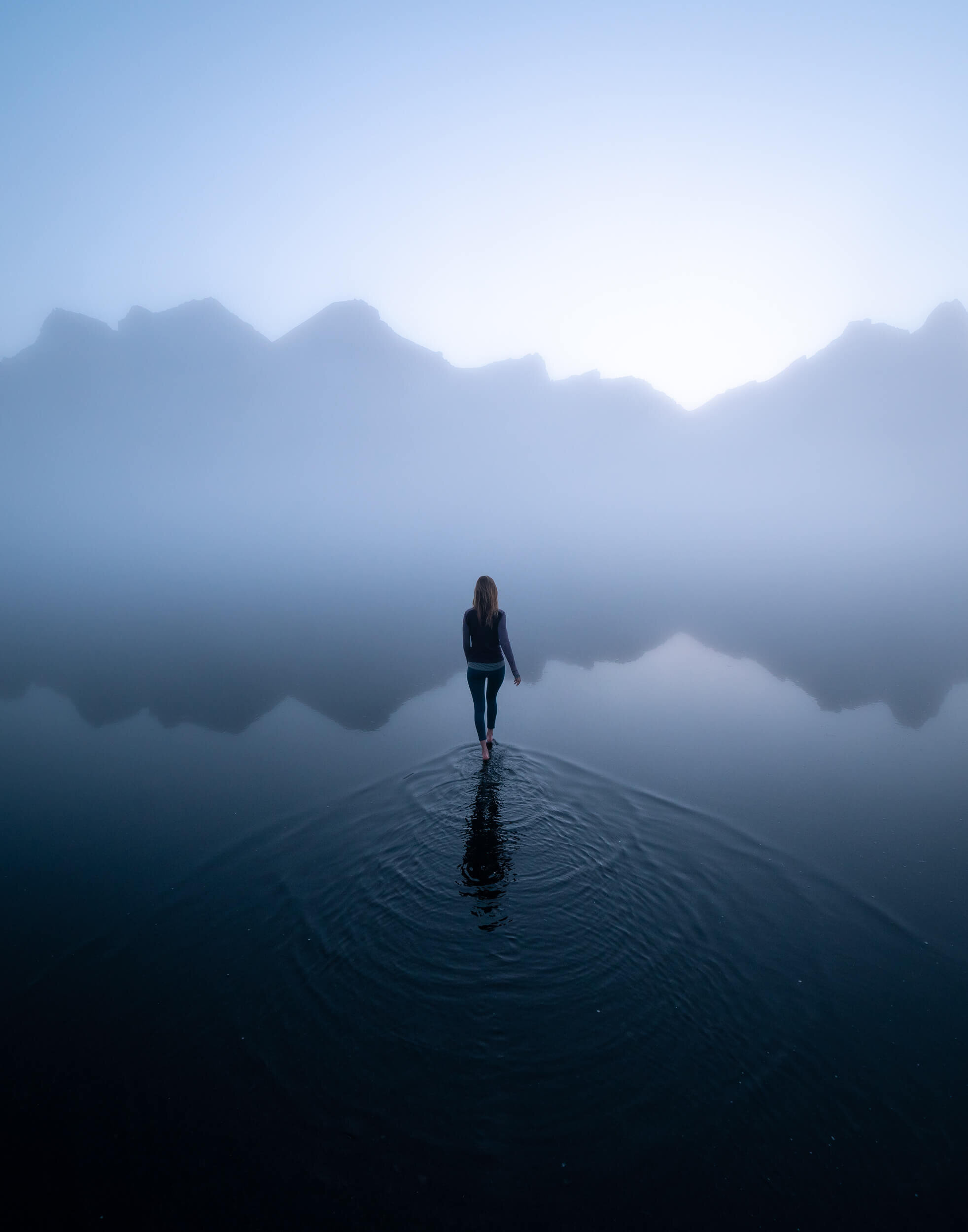 Walking on water at Stokksnes, Iceland.
