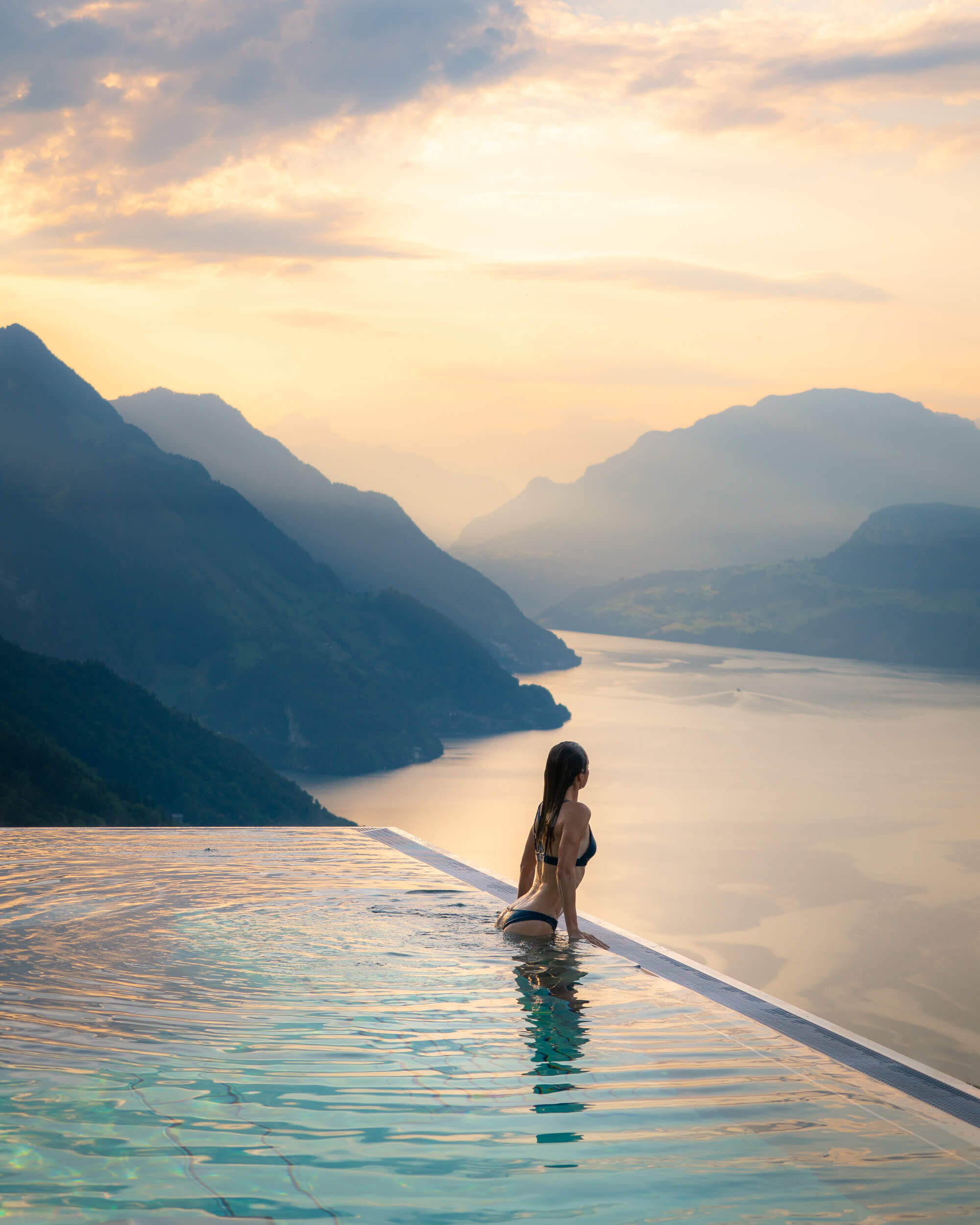Watching the sun come up over the mountains from the pool at Villa Honegg in Switzerland.