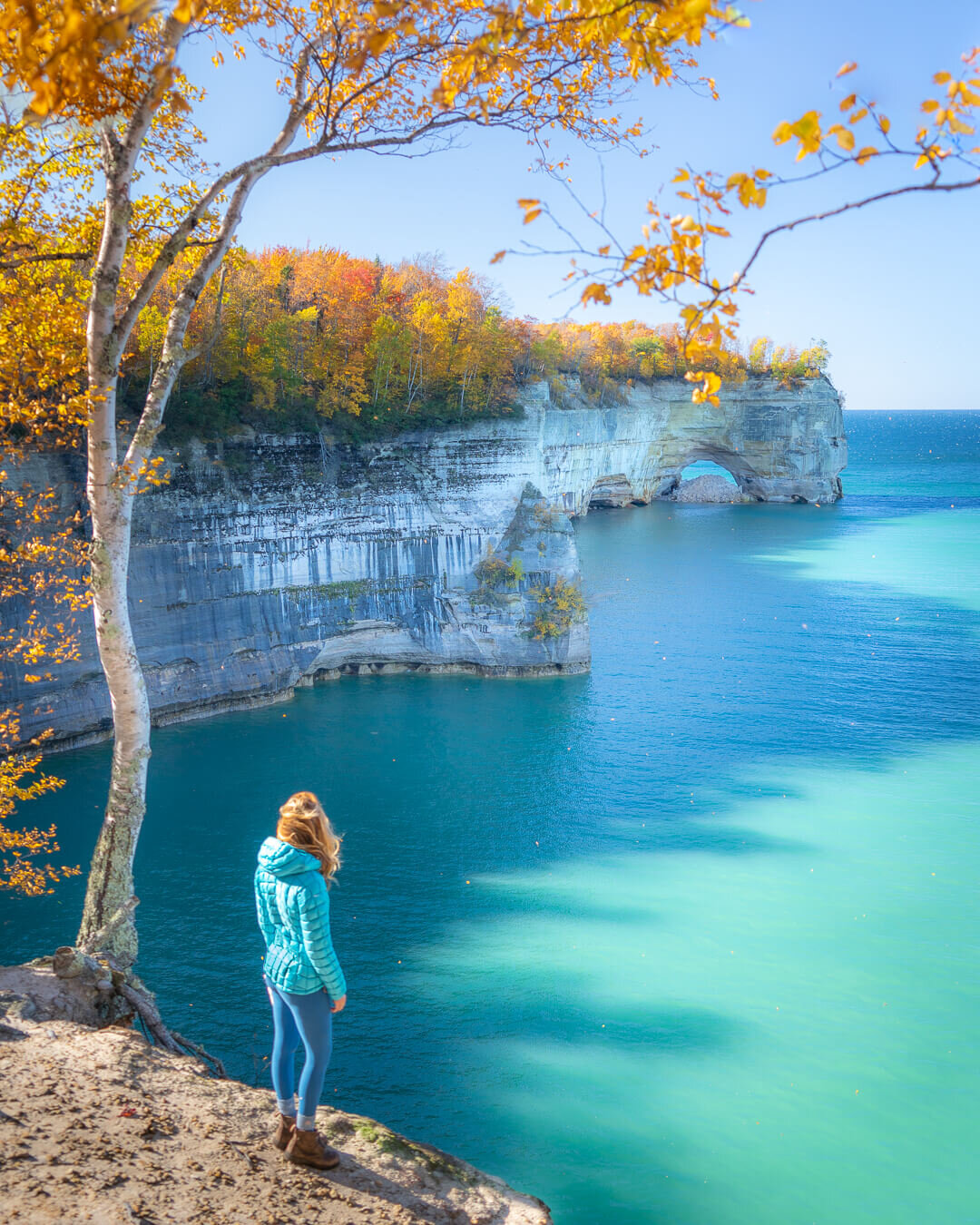 Autumn colors along Pictured Rocks National Lakeshore in Michigan.