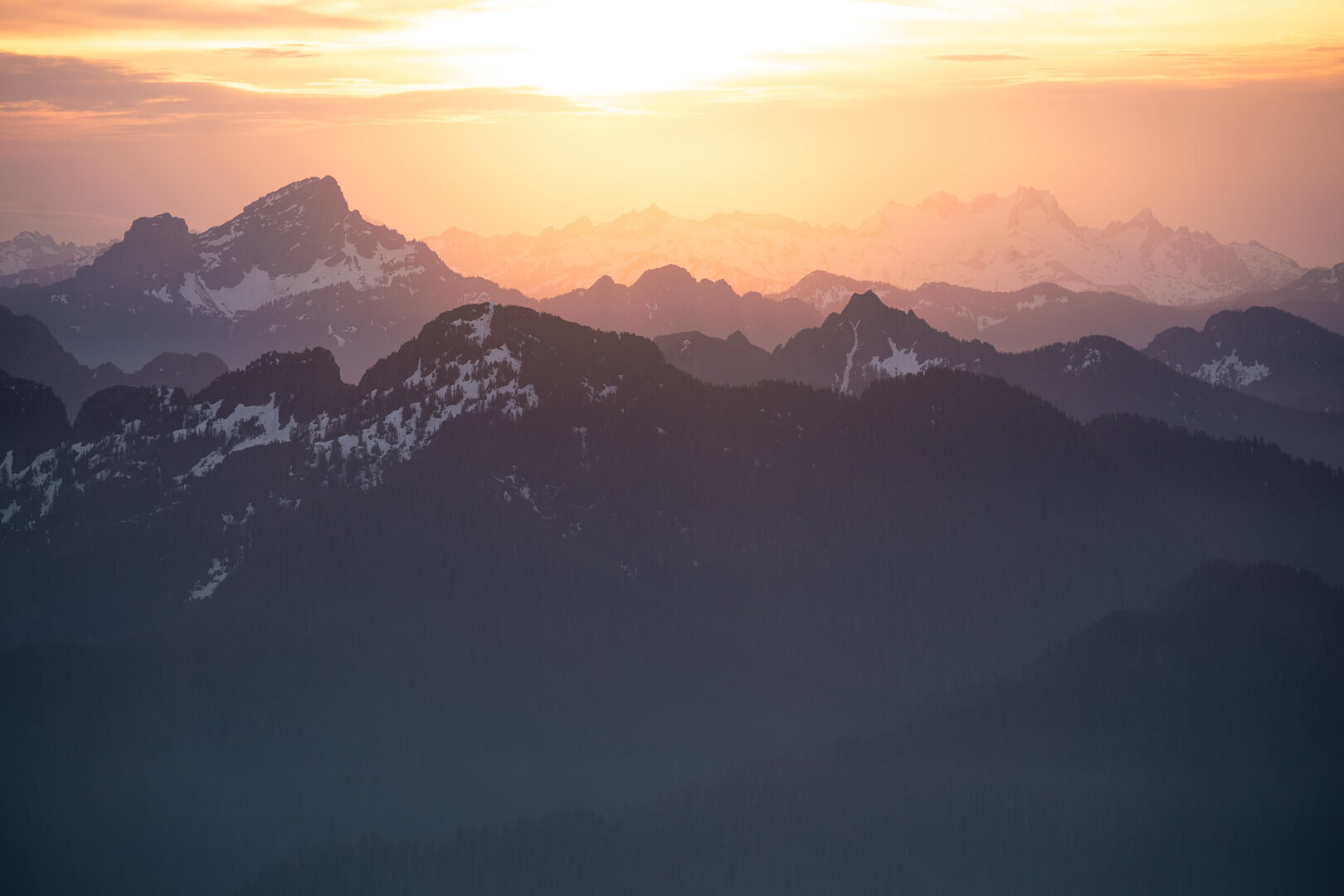 Beautiful sunset views from the Mount Pilchuck fire lookout.