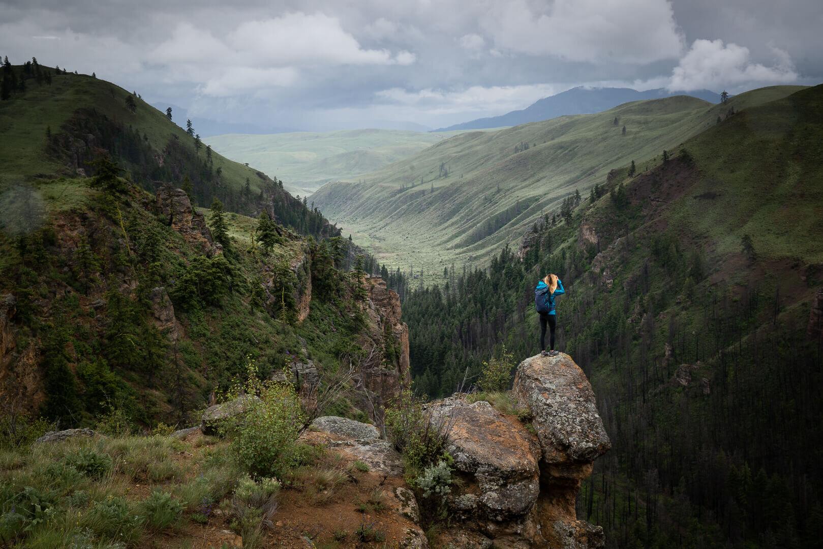 Pipestone Canyon hike in Eastern Washington. Wearing:  Rain Jacket ,  Trail Running Shoes ,  Day Pack