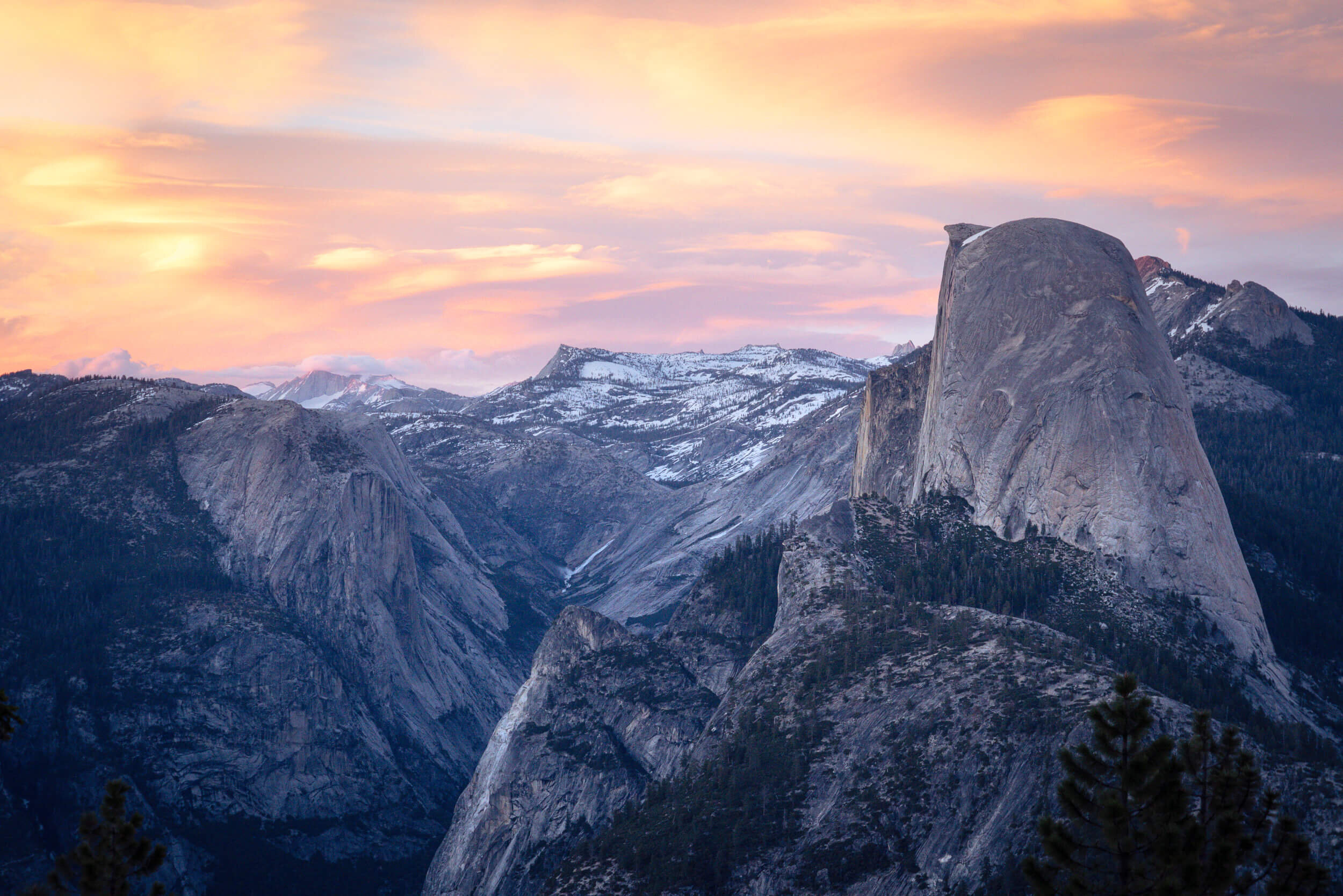 Sunset views of Half Dome in Yosemite National Park.