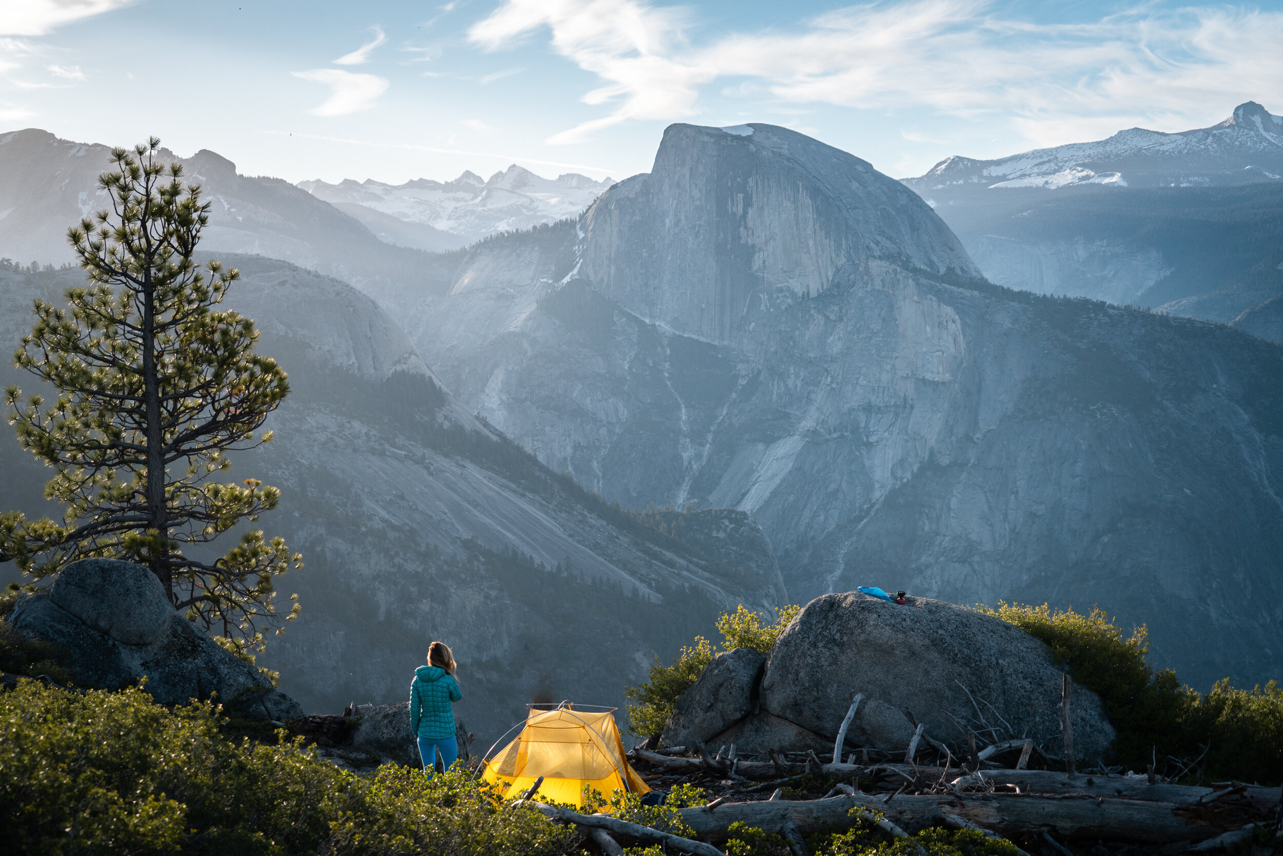 It's not hard to find a camp spot with a view at Yosemite National Park. Tent:  Big Agnes Tiger Wall UL2 Tent