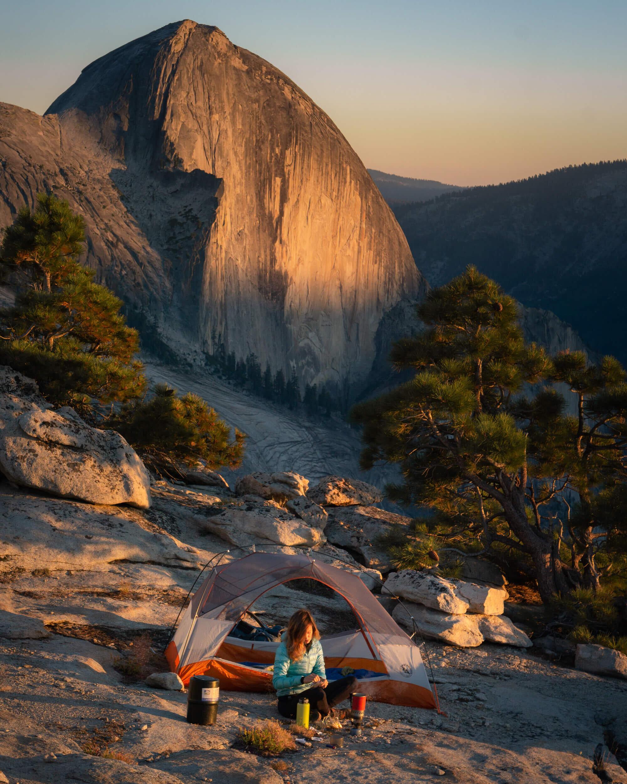 Camping at Mount Watkins in Yosemite National Park. Tent:  Big Agnes Copper Spur HV UL3