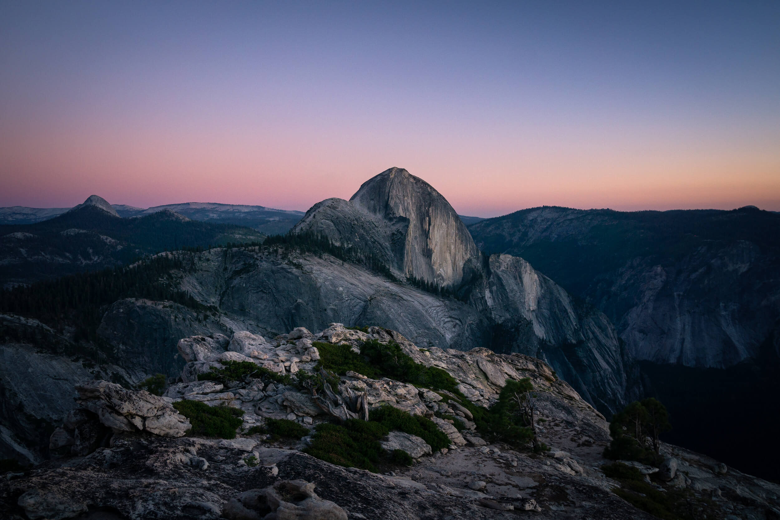 Sunset views of Half Dome from Mount Watkins.