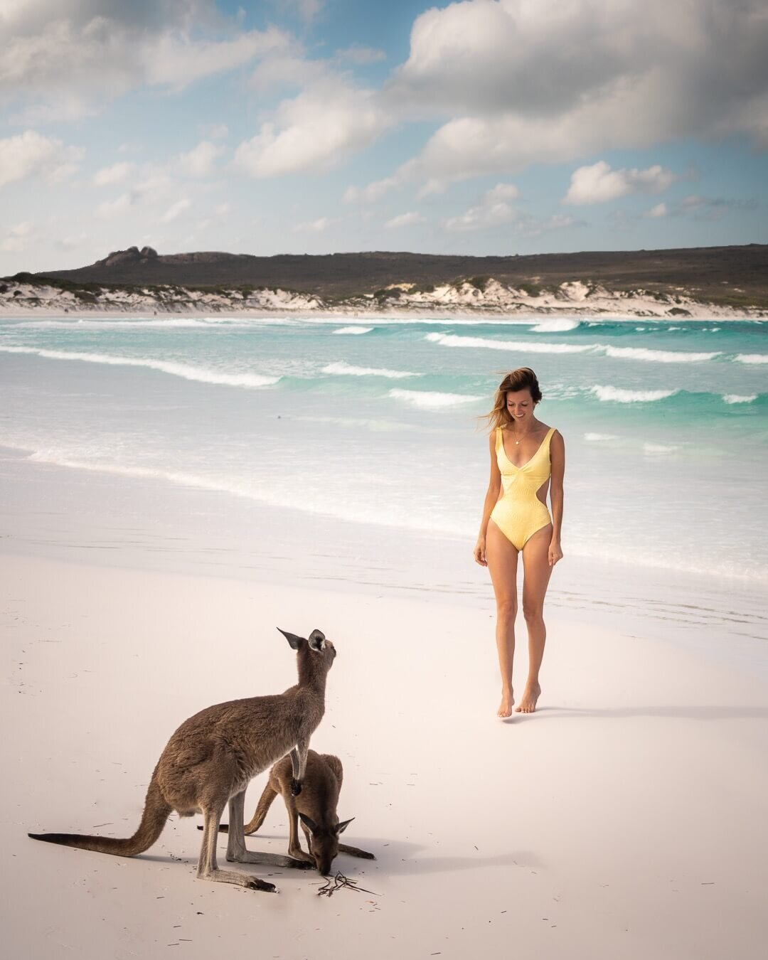 The wild kangaroos at Lucky Bay Beach. Wearing: L Space  Monaco One-Piece Swim Suit