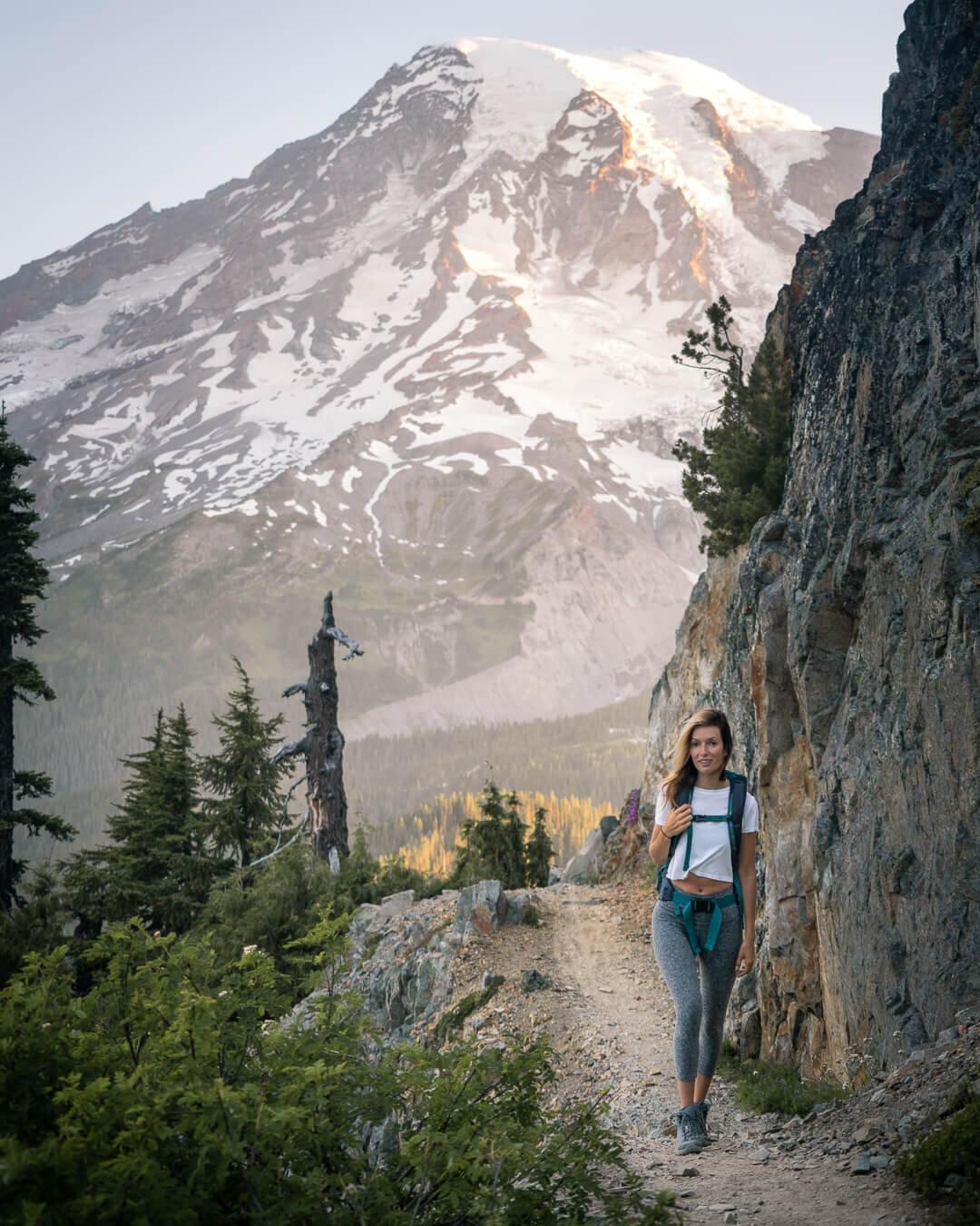 Hiking at Mount Rainier. Wearing: Keen  Hiking Boots , Beyond Yoga  Leggings , Patagonia  Day Pack .