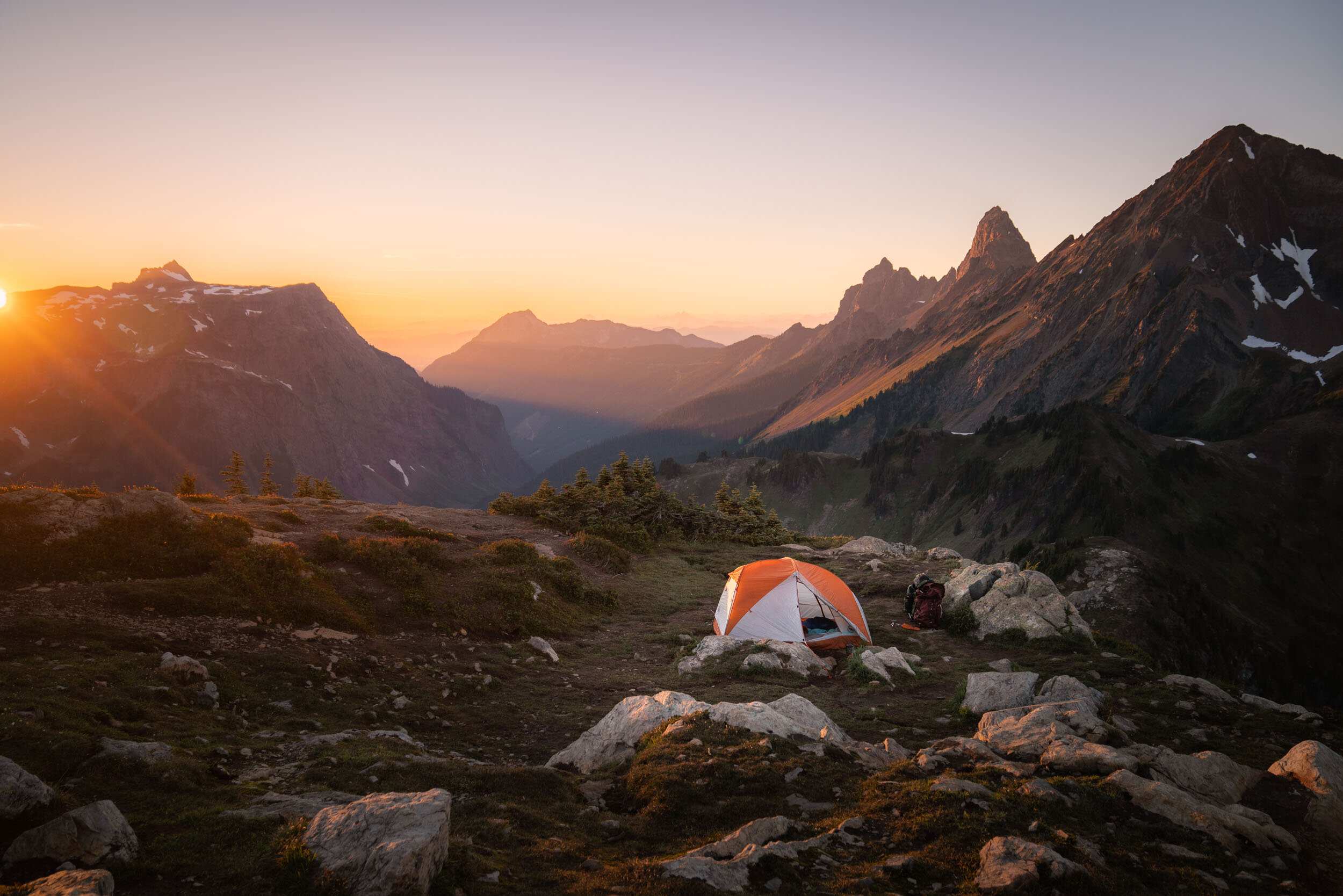 Sunset in The North Cascades. Camping in the  Big Agnes Copper Spur HV UL2 Tent .