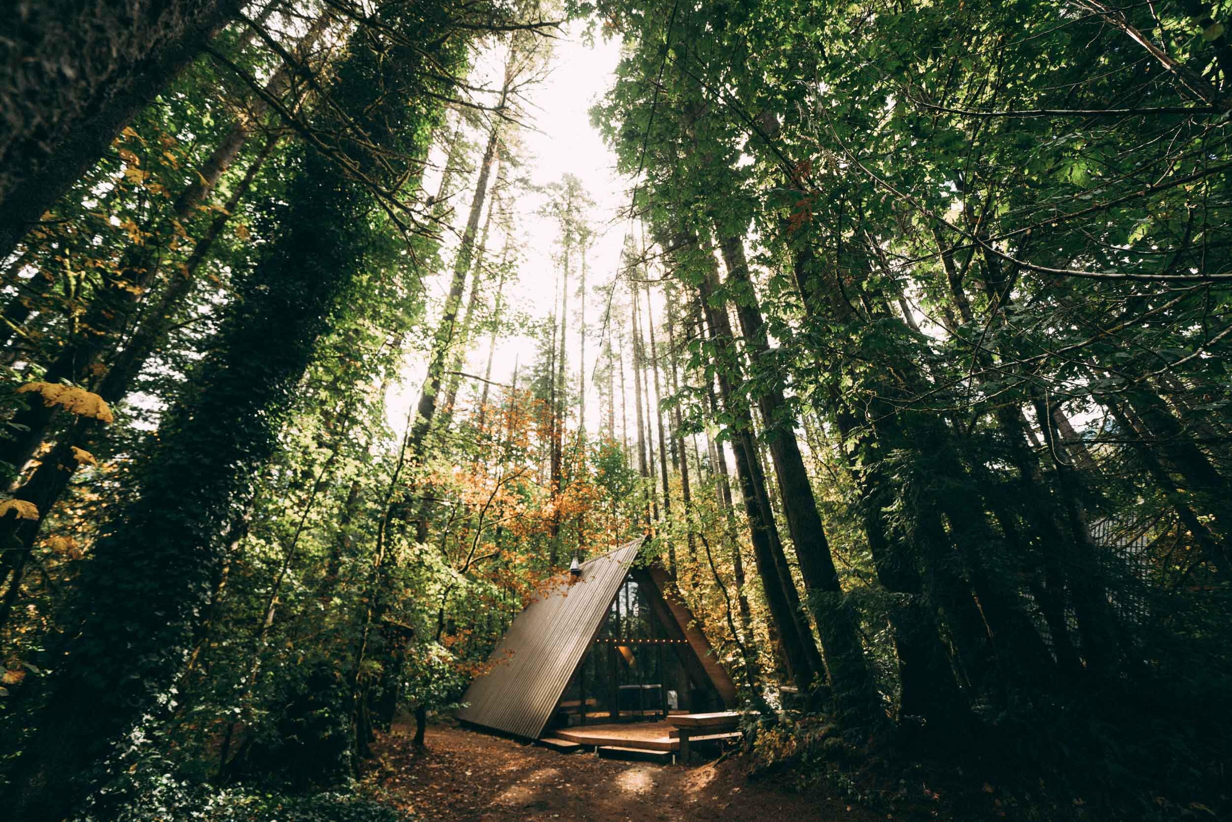 Sky Hous is one of three picturesque A-frame cabins owned by the Tye River Cabin Co. just outside of Skykomish, WA.