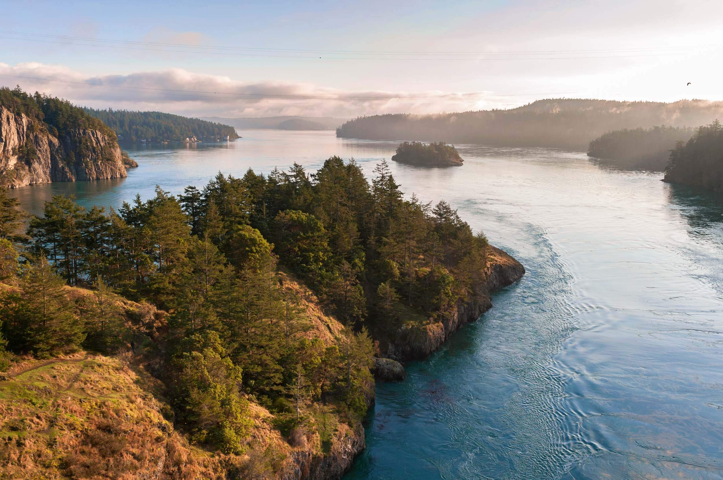 Aerial view of Deception Pass, Whidbey Island.