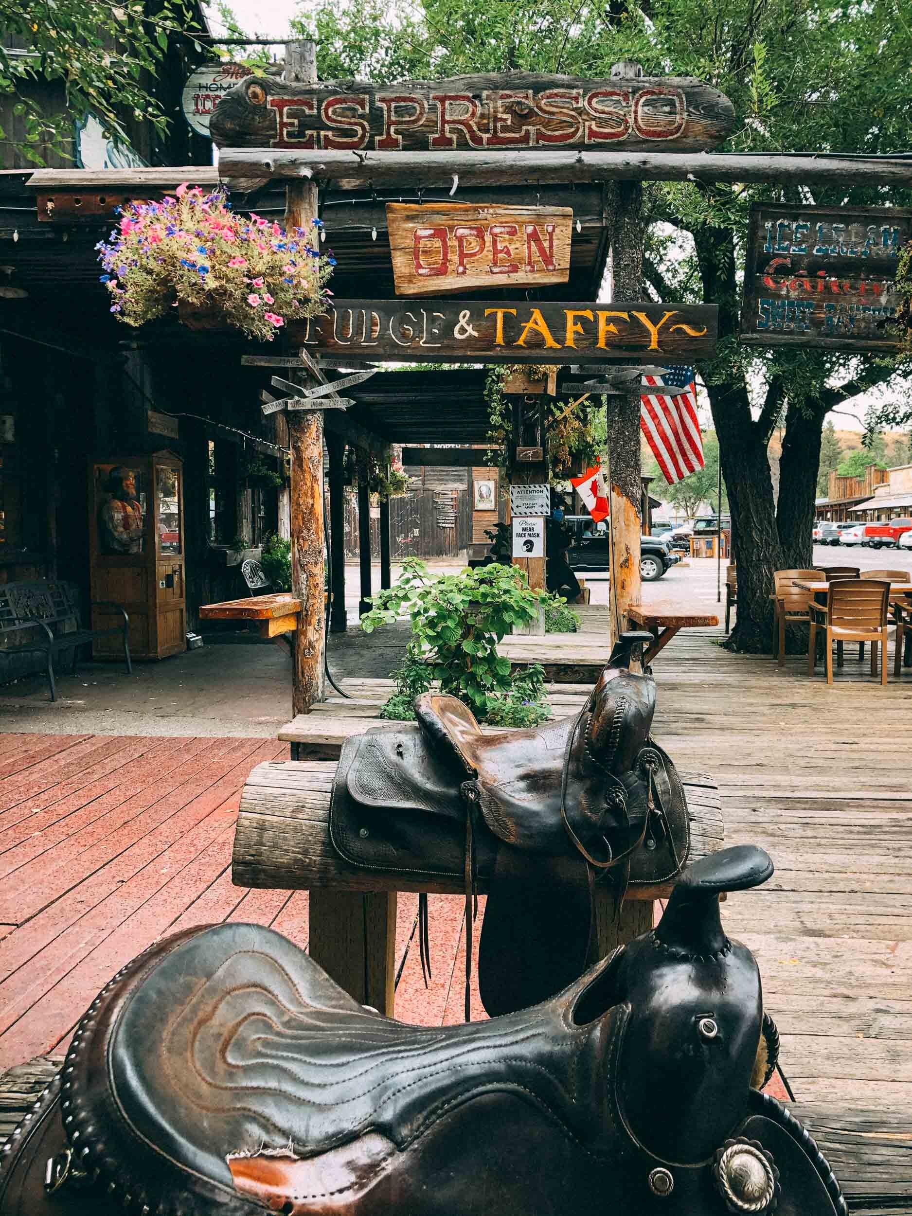 Winthrop's main street features a fun western theme.