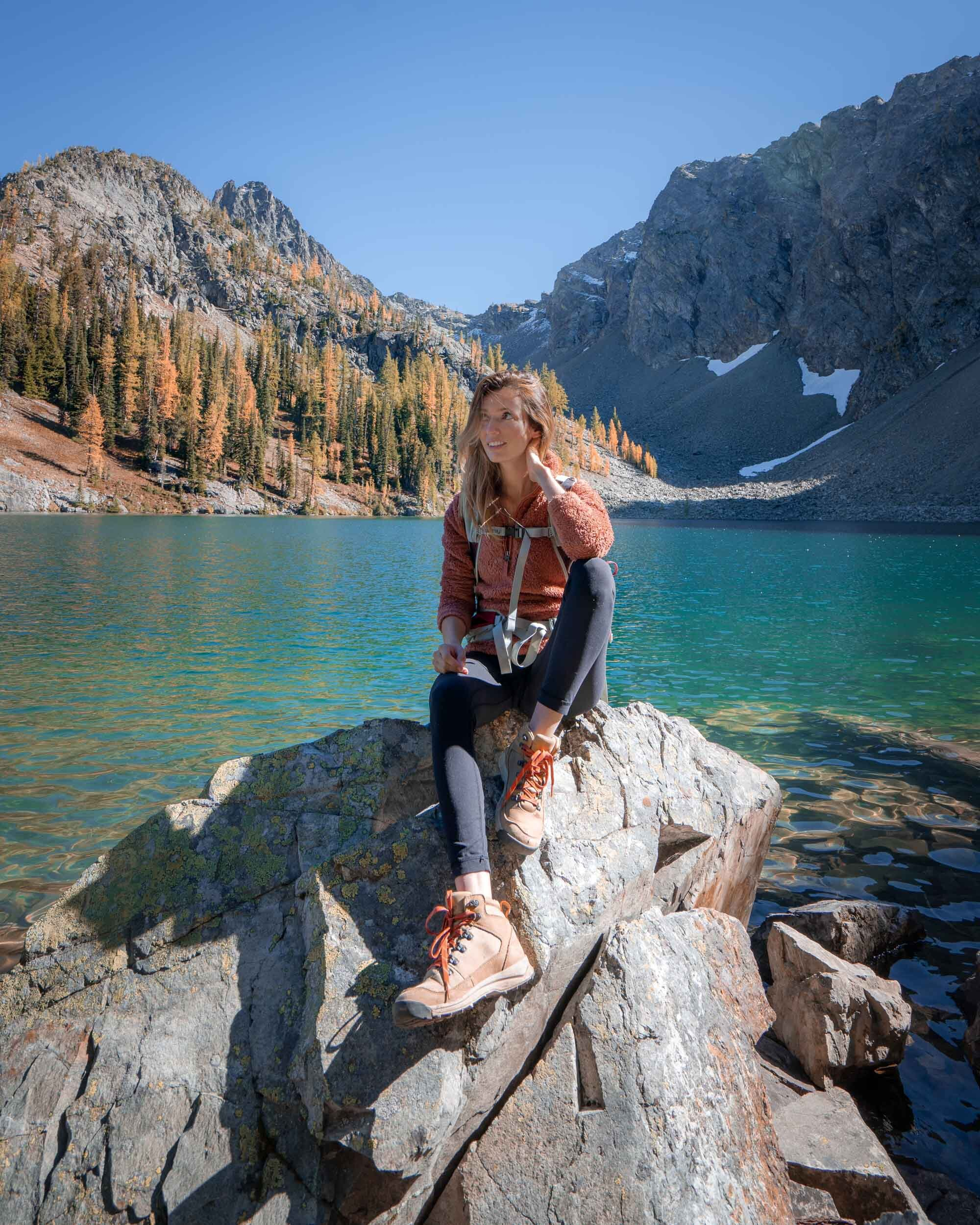 Hanging out at Blue Lake in the North Cascades. Wearing: Patagonia Fleece  Jacket  and Danner  Hiker Boot .