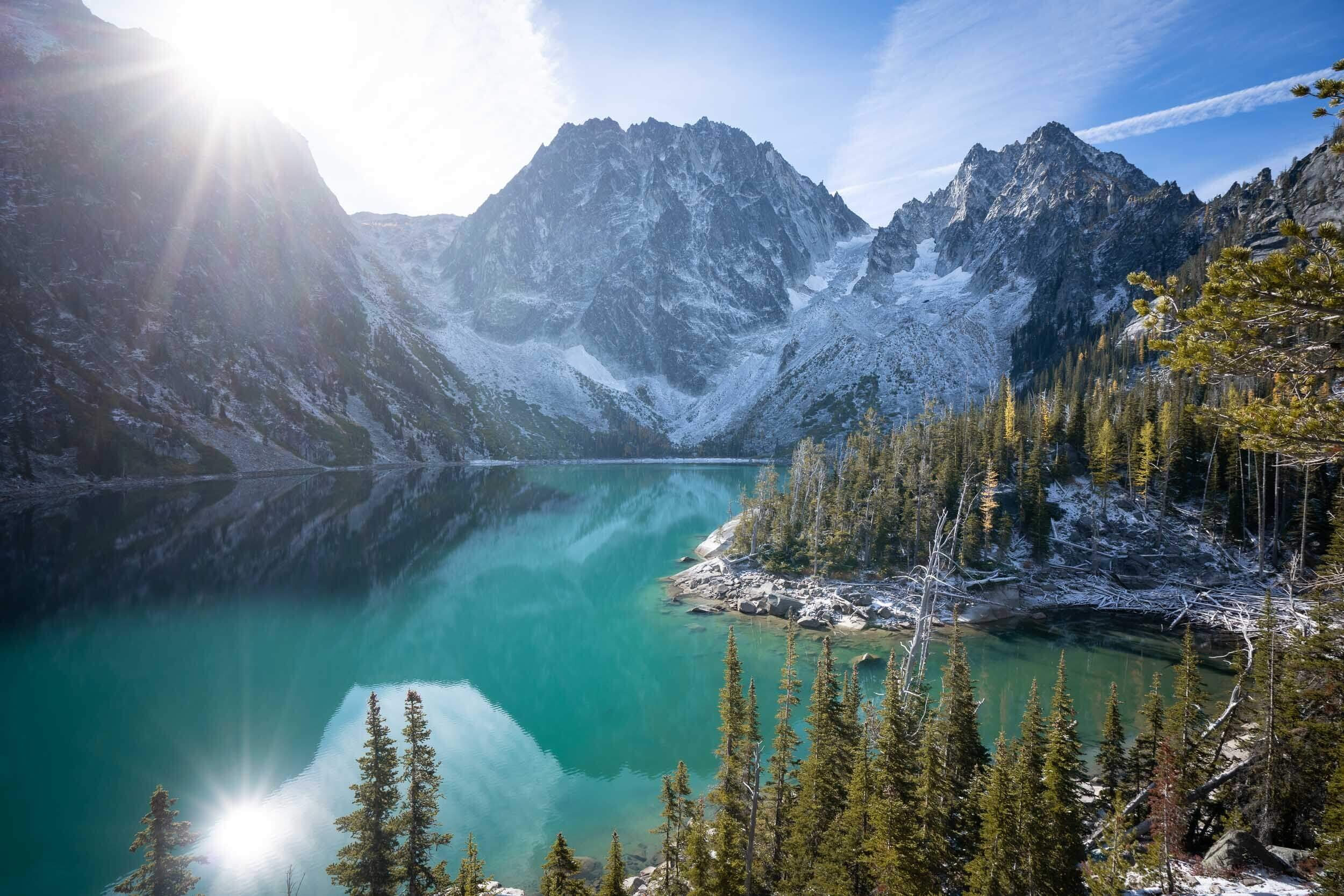 Views of Colchuck Lake. Dragontail Peak is the prominent peek directly across the lake in this image, and Aasgard pass is just to the left of Dragontail Peak.
