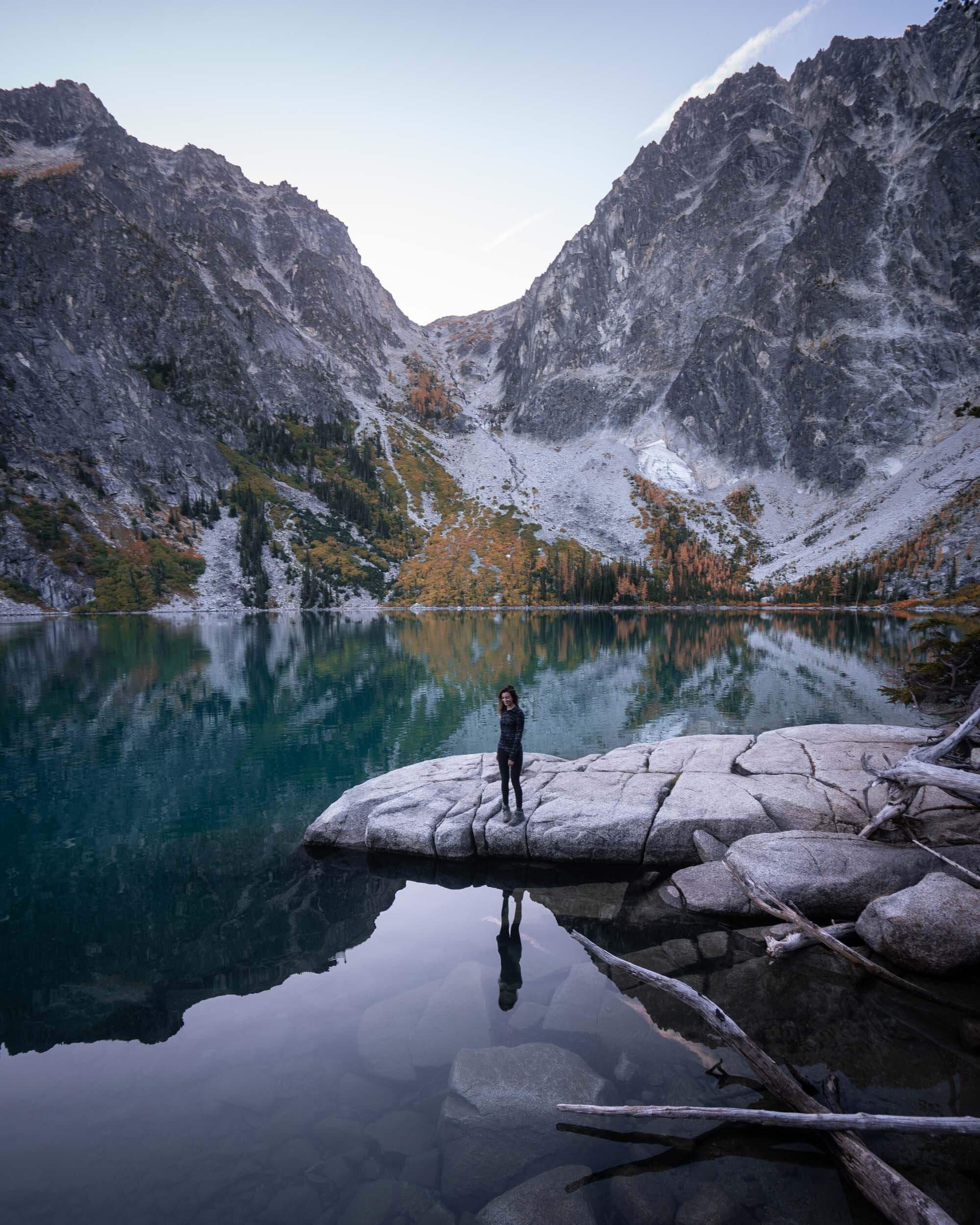 Early morning reflections at Colchuck Lake.