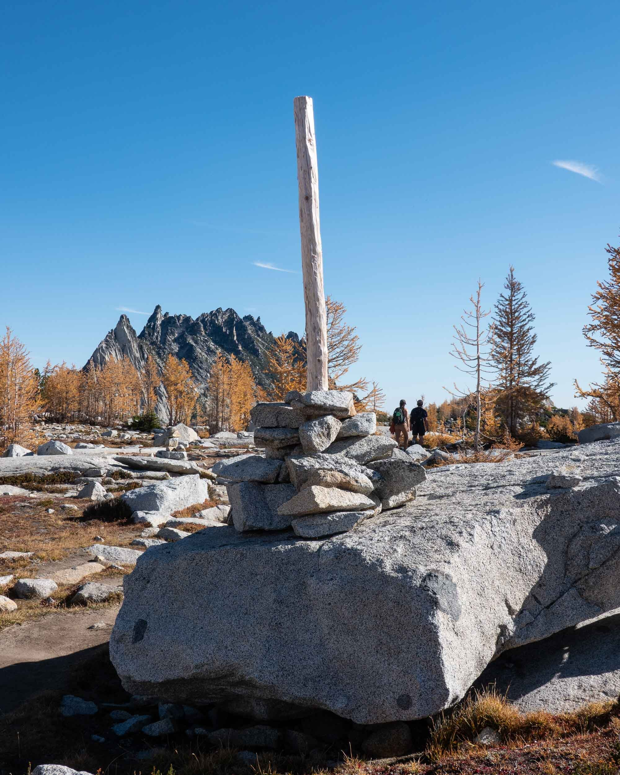 Rock cairns mark the trail through large portions of The Core Enchantments.