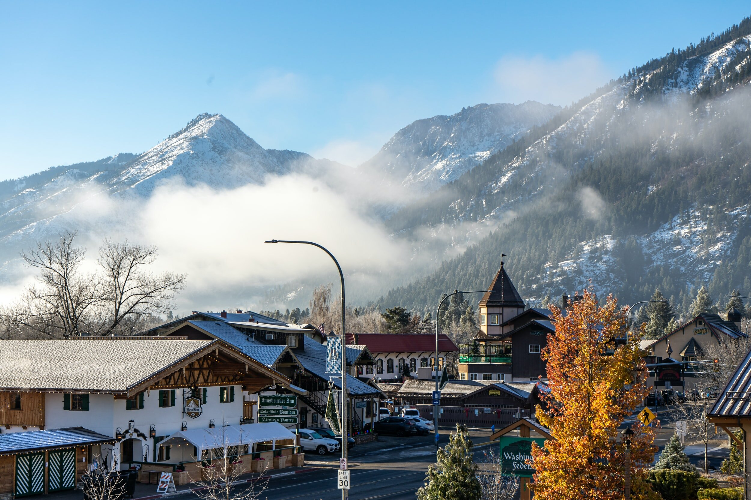 In the winter time downtown Leavenworth feels like a holiday snow globe!