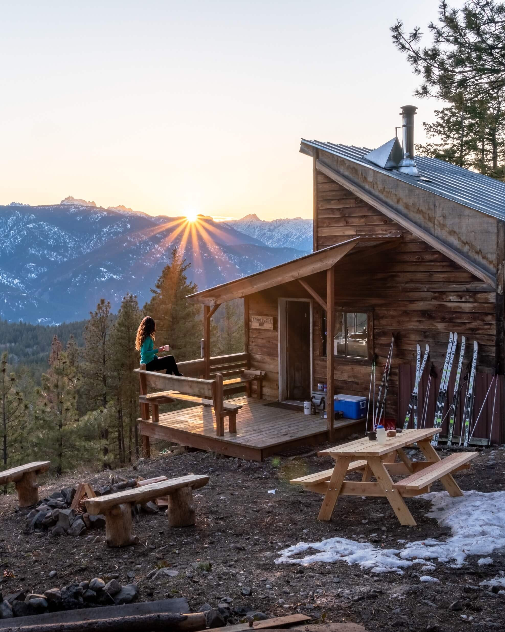 This is the Rendezvous Hut, one of many backcountry huts that you can rent out and ski to along the Rendezvous Trail. This was in April (the last week that the trail was open for cross-crountry skiing. I promise there's usually A LOT more snow! Photo by  Josh Steele .