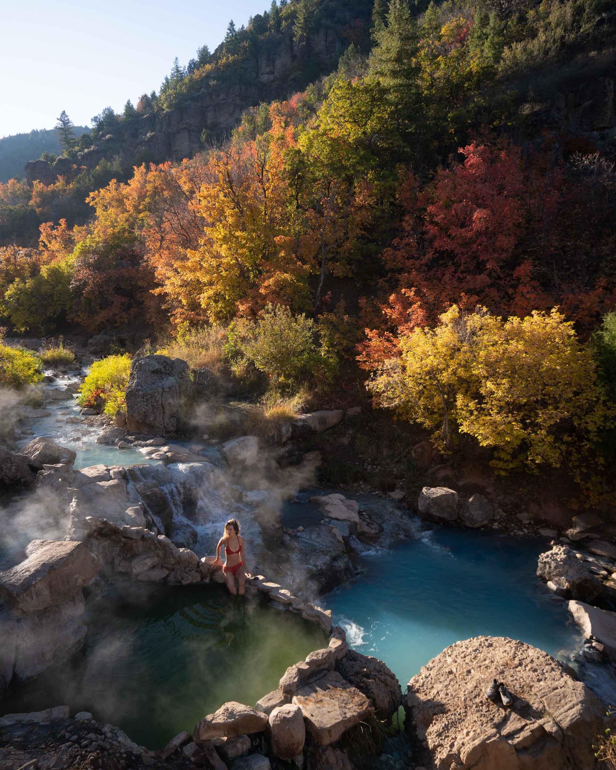 Jess Wandering at hot spring in Utah.