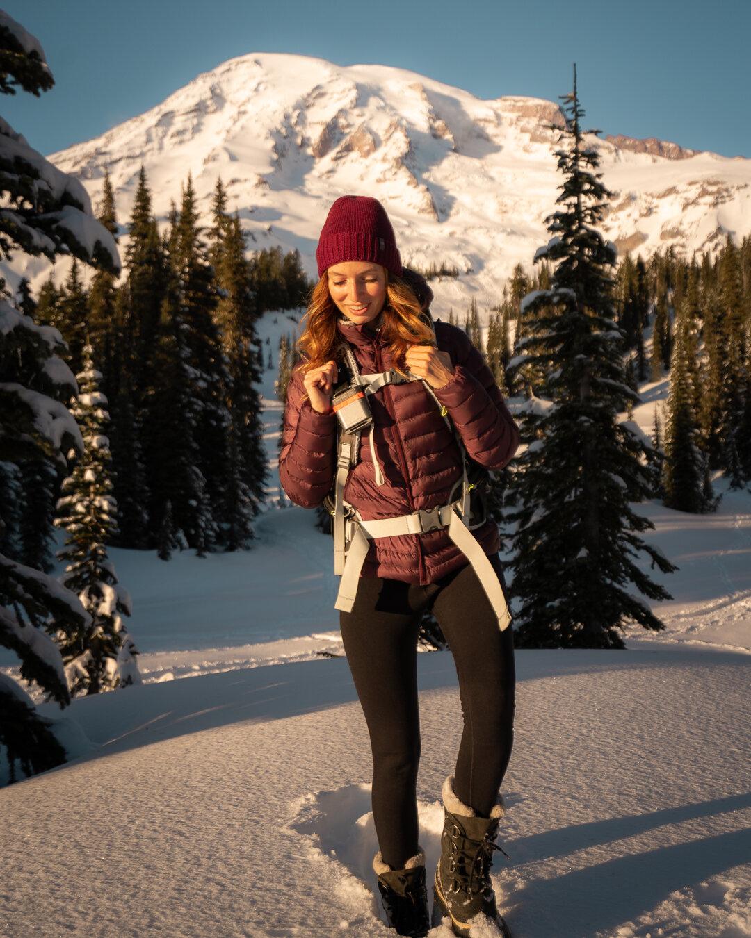 Winter hiking in Washington State at Mount Rainier. Wearing:  Winter Warm Tights ,  Sorel Boot s,  Arc'teryx Jacket , and Icebreaker Beanie.