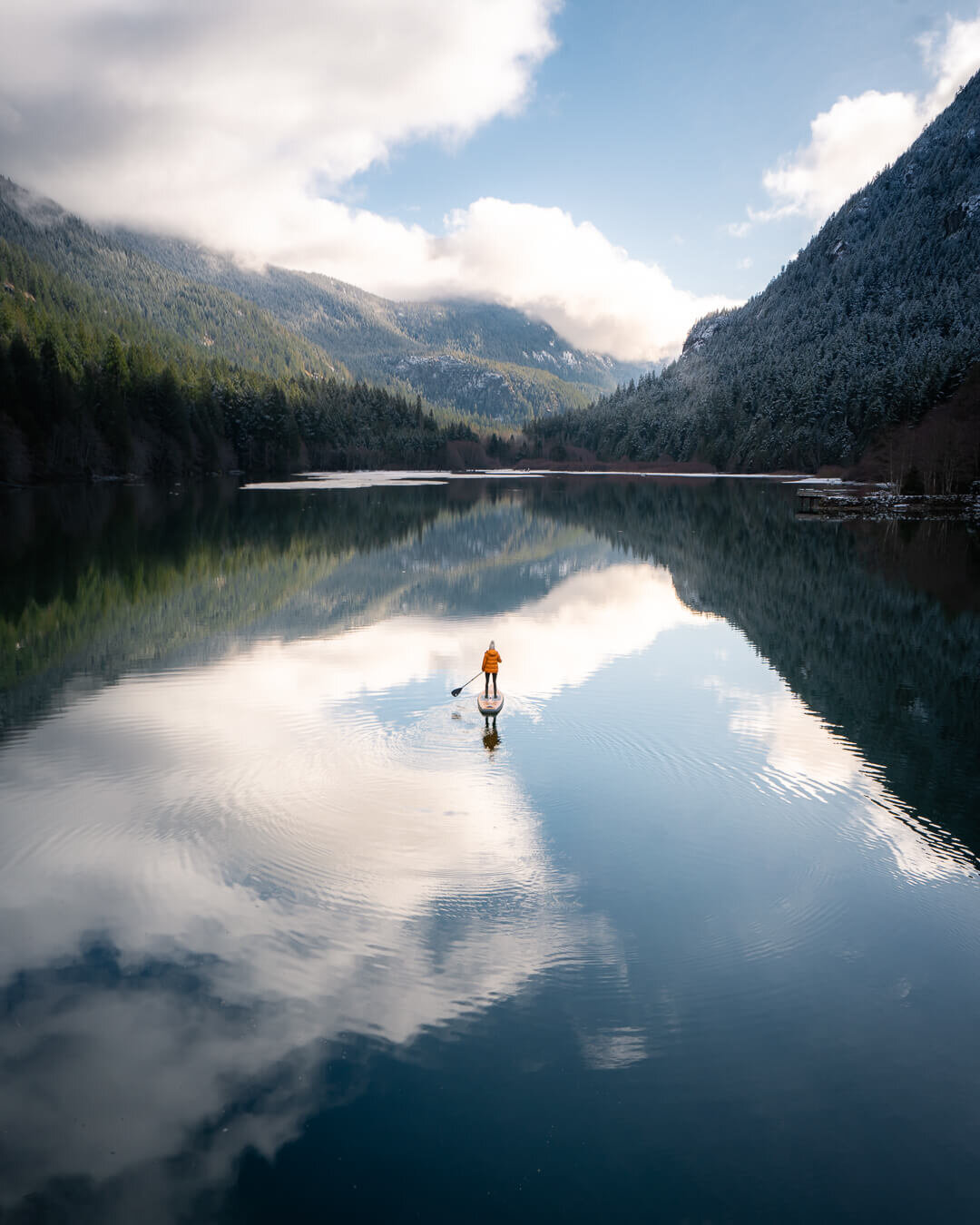 Stand-Up Paddle Boarding on Diablo Lake on a calm morning in January.