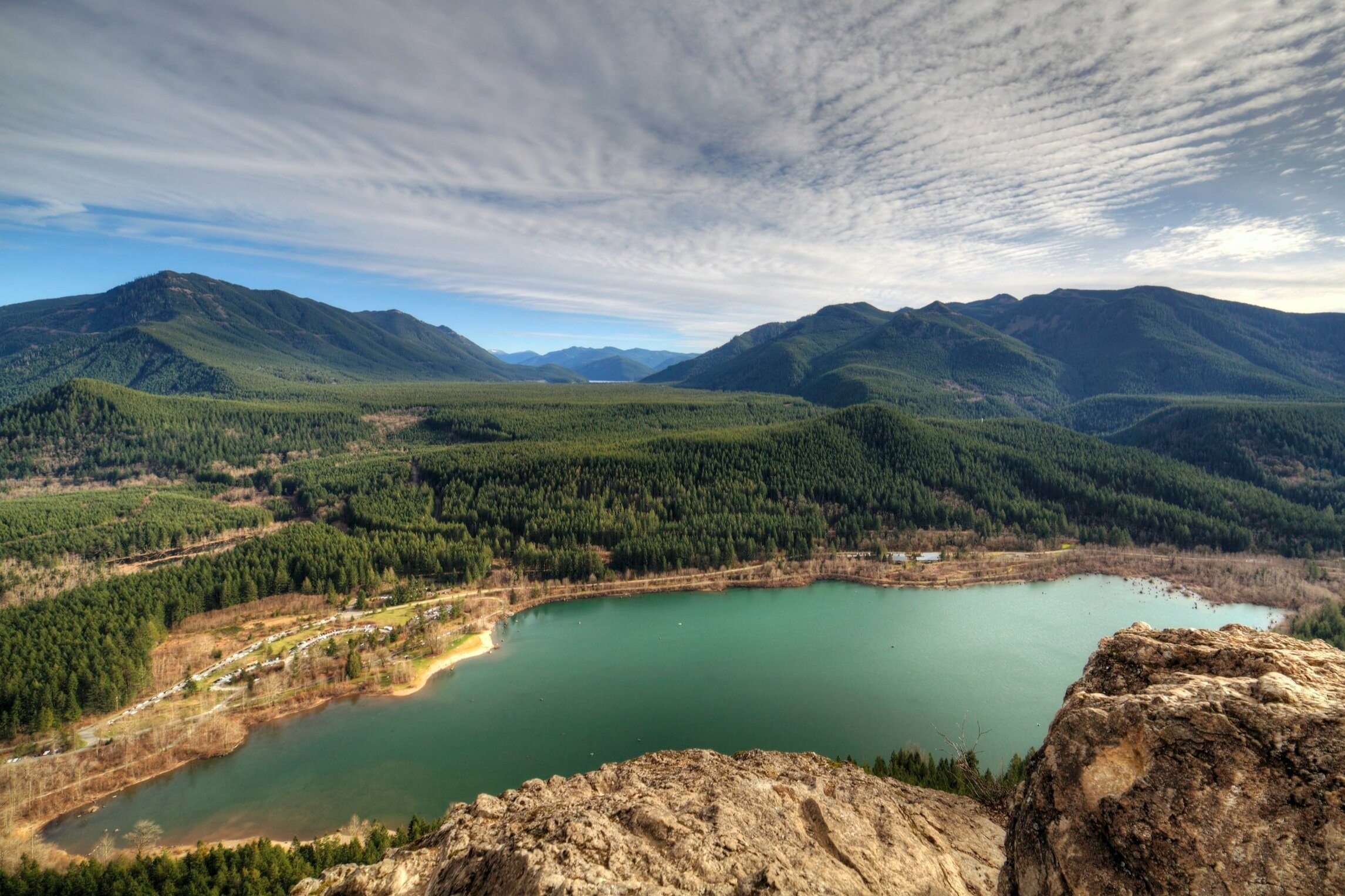 Looking down on The Rattlesnake Lake Recreation Area from the ledge along Rattlesnake Ridge. Photo by:  Zach Taiji