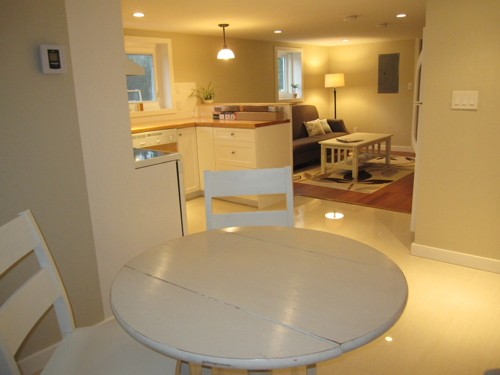 This picture, taken before the suite was styled, shows the suite from  almost the same angle as this before shot.