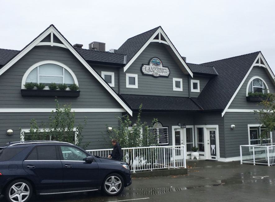In Progress - Decorative pieces in the peaks, boxwoods window boxes and a nautical colour scheme are transforming this downtown Comox Commercial building by giving it to a more upscale, craftsman style. More pictures to come!