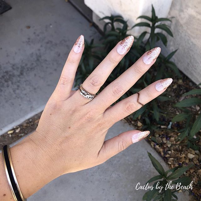 LOVING my newest mani! 😍 Soft, translucent pink dipped in rose gold glitter...it's like lingerie for your fingertips, but takes less time to get into and stays on much longer. 😉