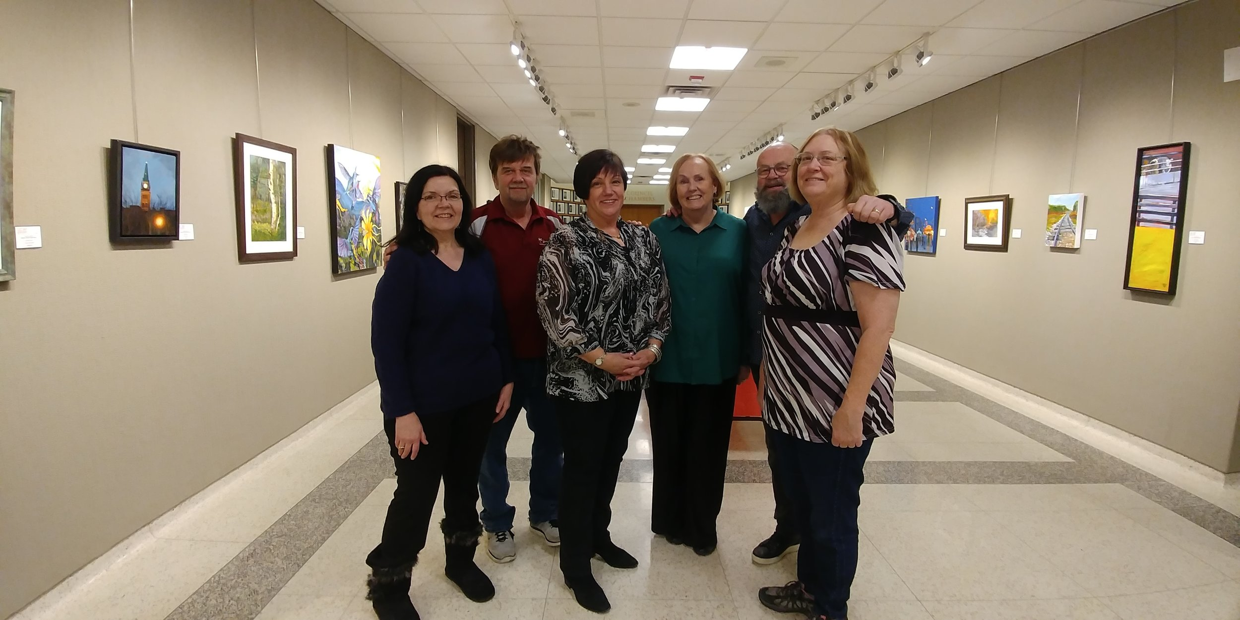 From left to right, SOVA artists , Margaret Pardy, Steve Wilson, Charlene Nickels, Helen Duplassie, Robert Chisholm, and myself, Lynden Cowan.