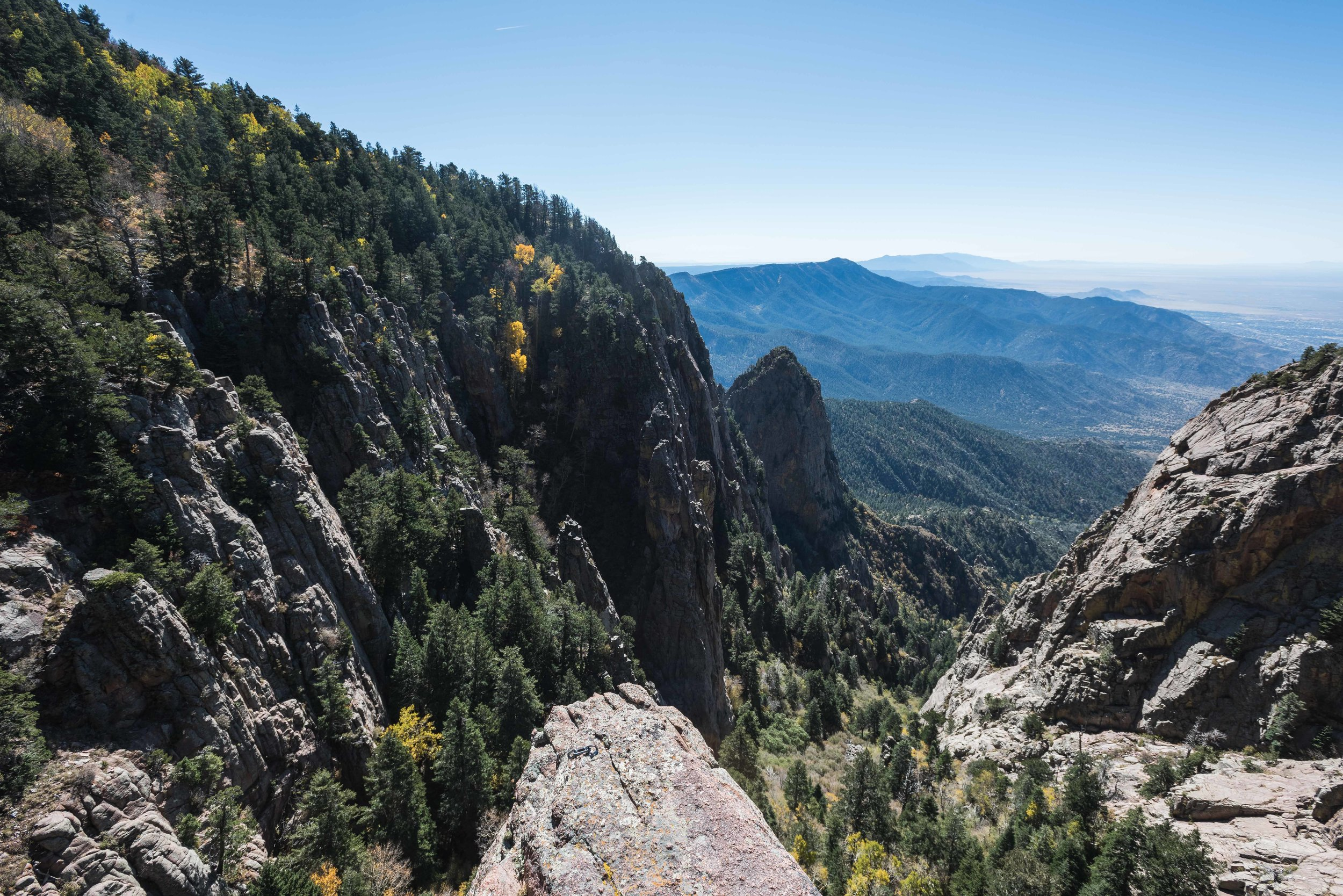 The view from a spot at the top of the La Luz trail with access to multiple potential lines