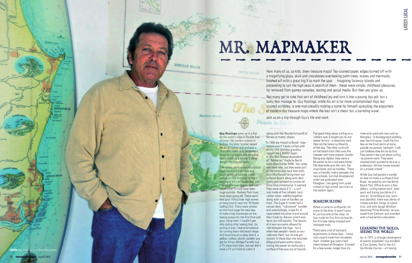 Guy's story in Smorgasboarder surfer mag, click to read full article.