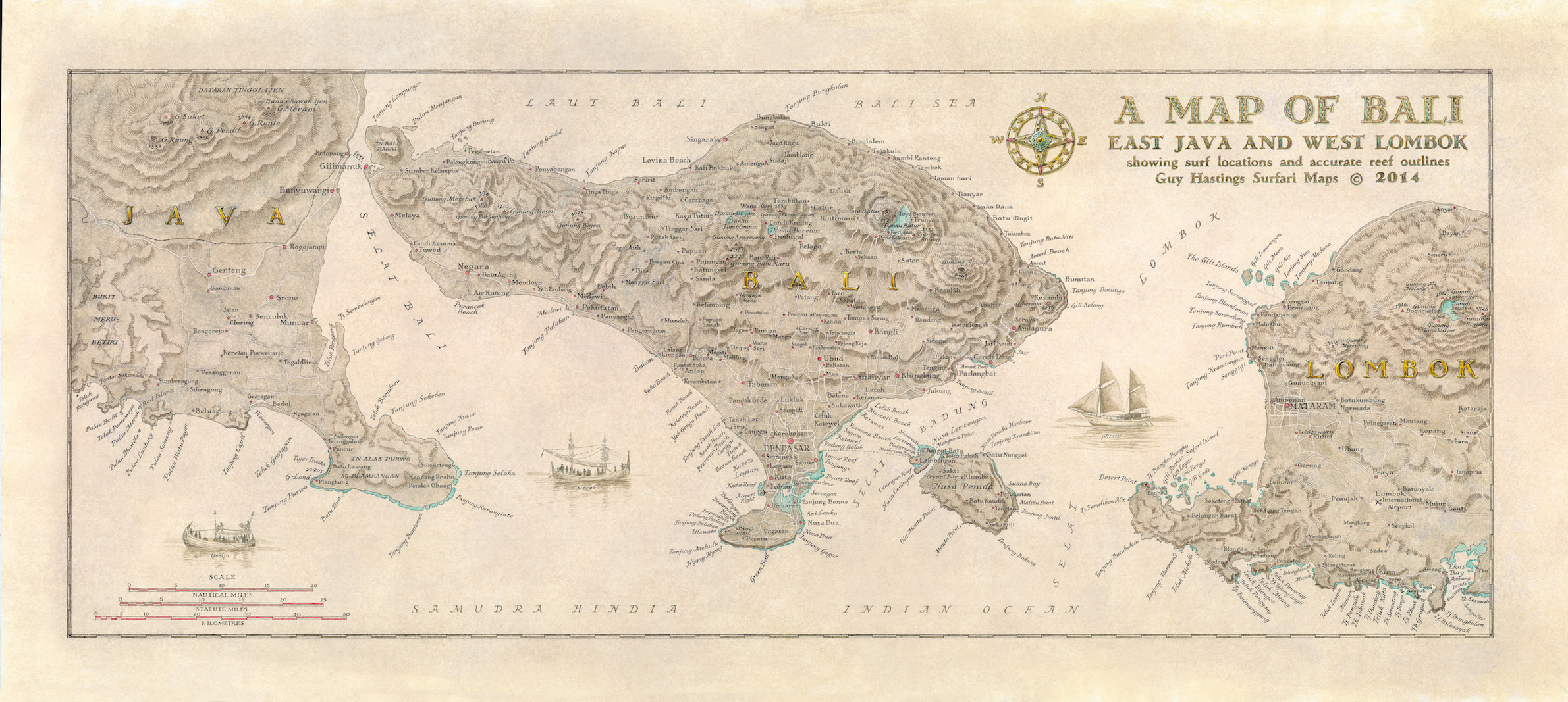 Map of Bali, East Java and Lombok Surf Map