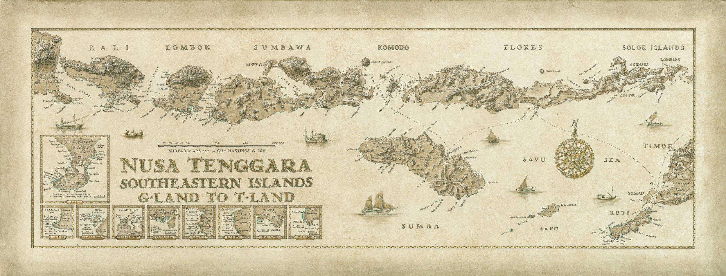 Nusa Tenggara, G Land to T Land Surf Map