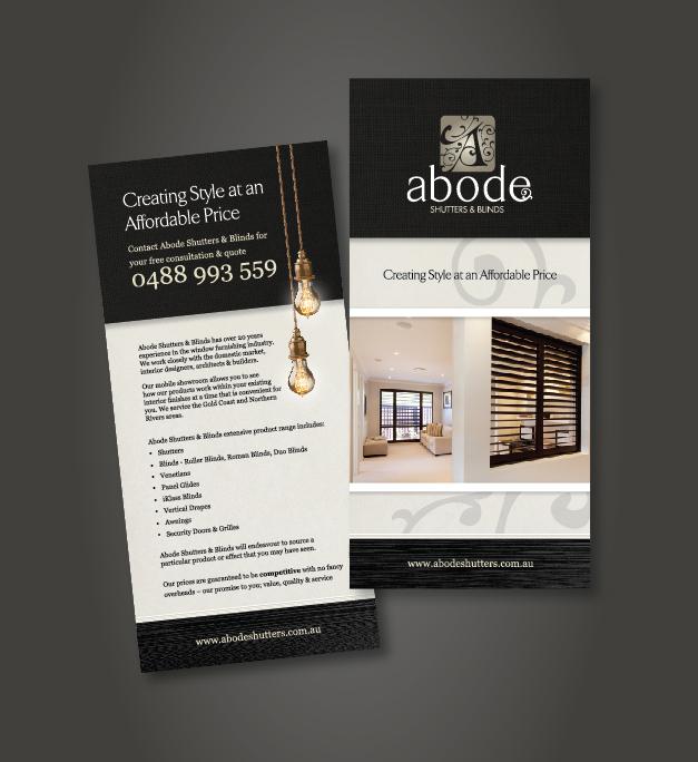 DL Brochure Design Abode Shutters & Blinds Taree NSW
