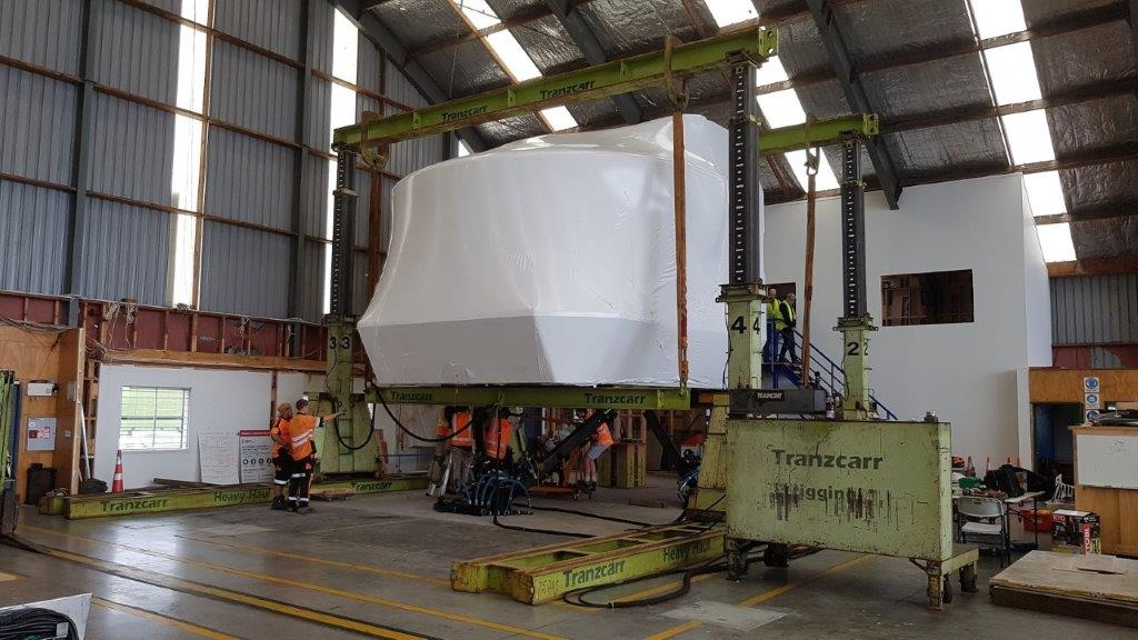 The Air Chathams' 747 Simulator all wrapped up and ready to be relocated.