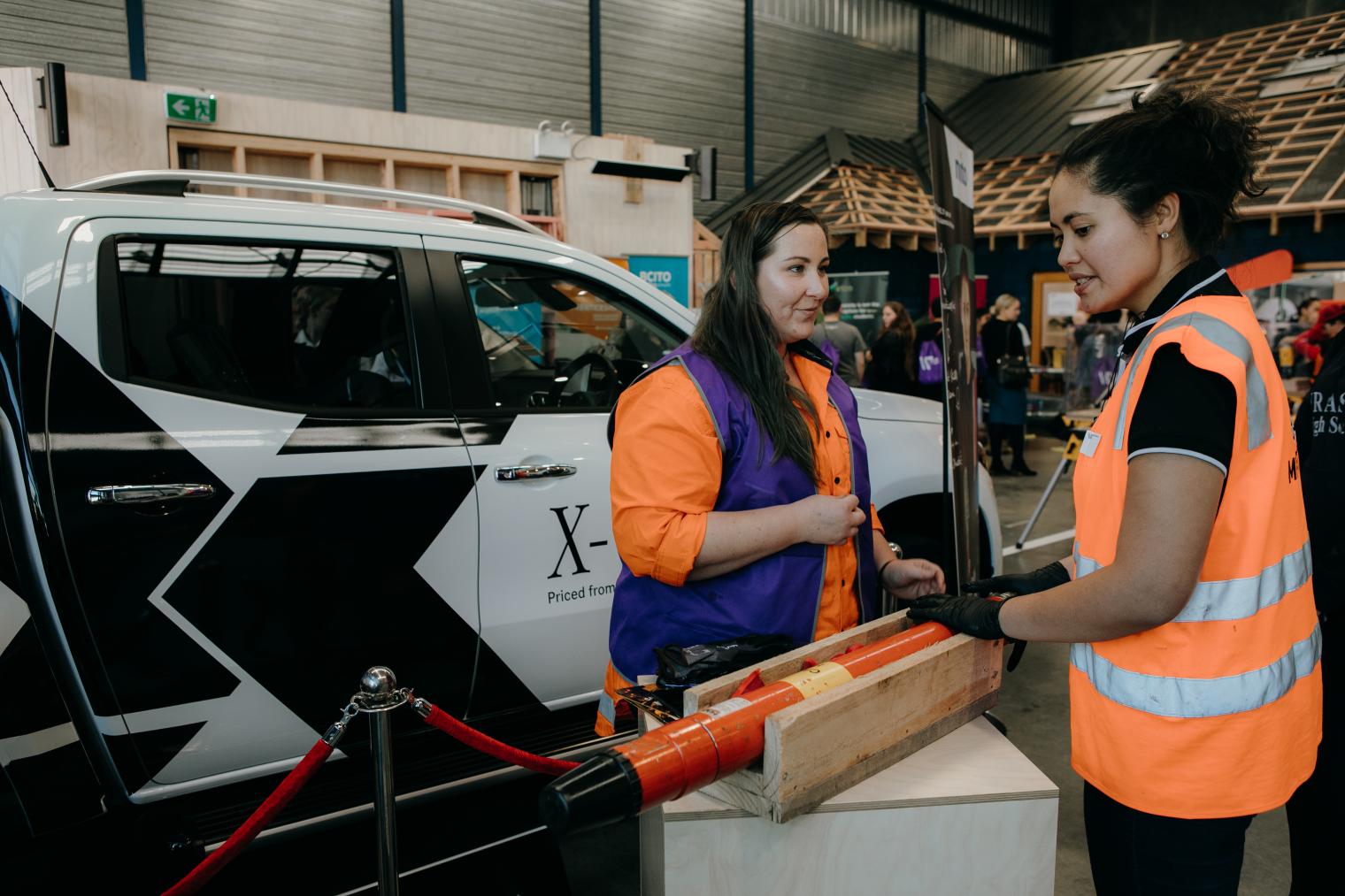 Flora Rivers talks to Pip Buunk at the 'Give It A Go' activity at last years Women in Trades event