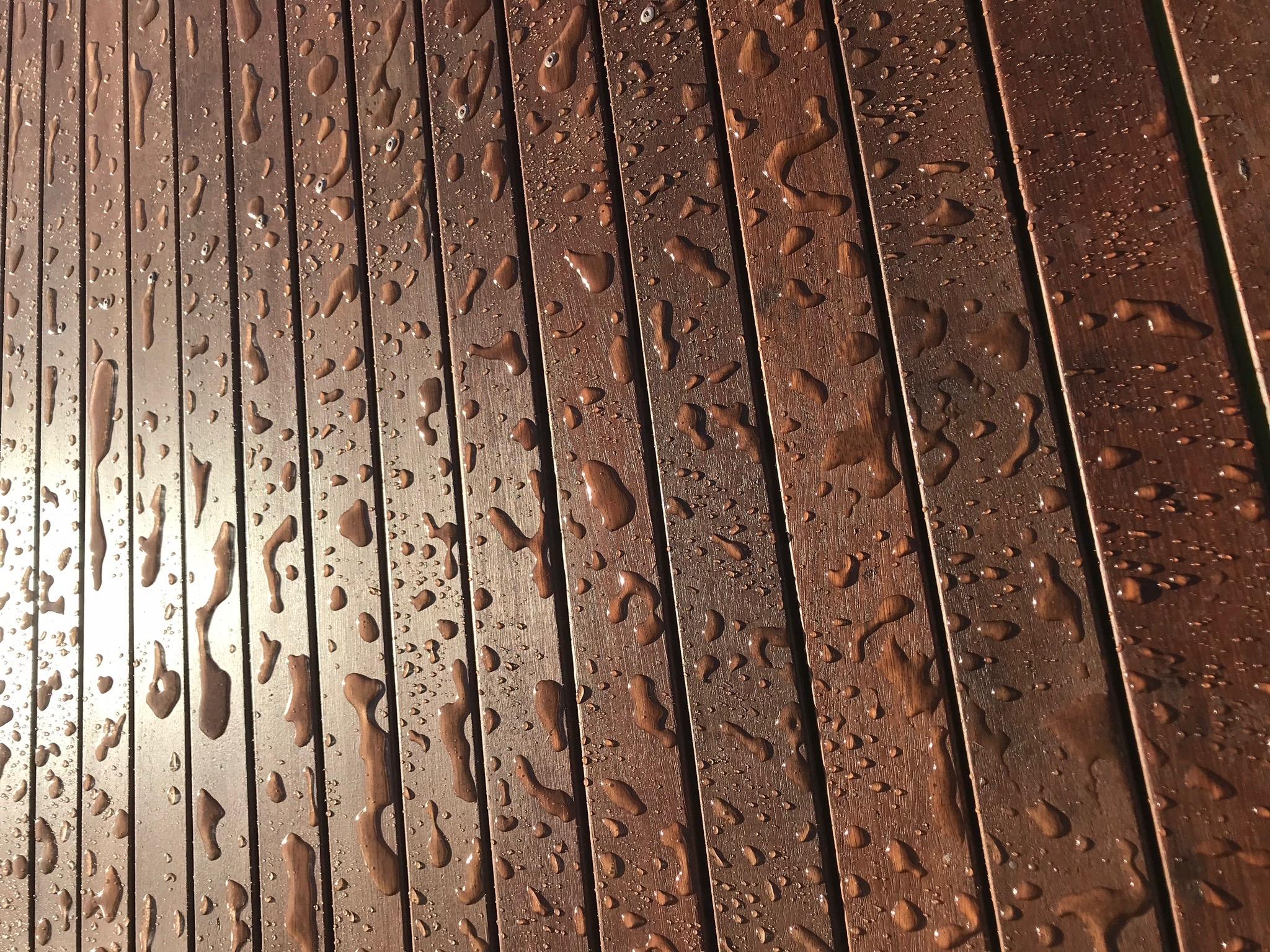 Deck n' Trim  showing its water repellency.