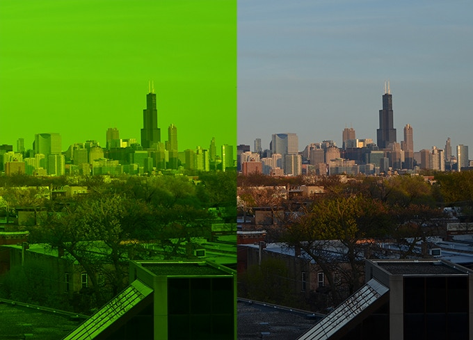 Vision through IRlenses on the left and normal vision on the right.