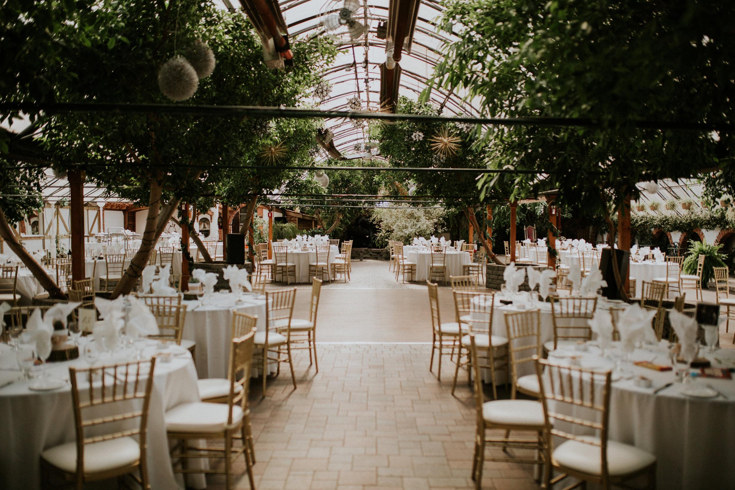 Reception setup at a green house wedding at Madsen's greenhouse