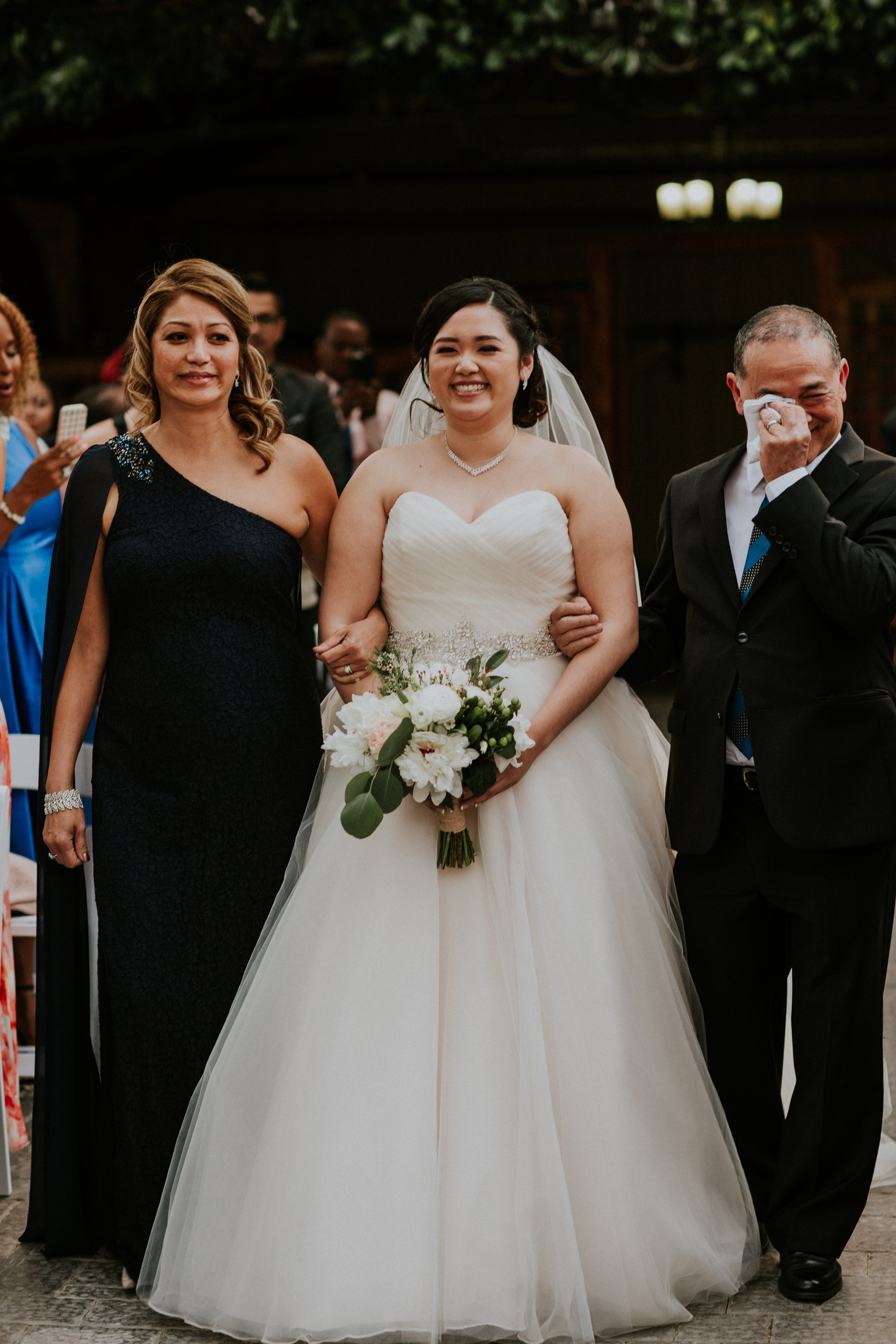 Bride walking down the isle on her wedding day