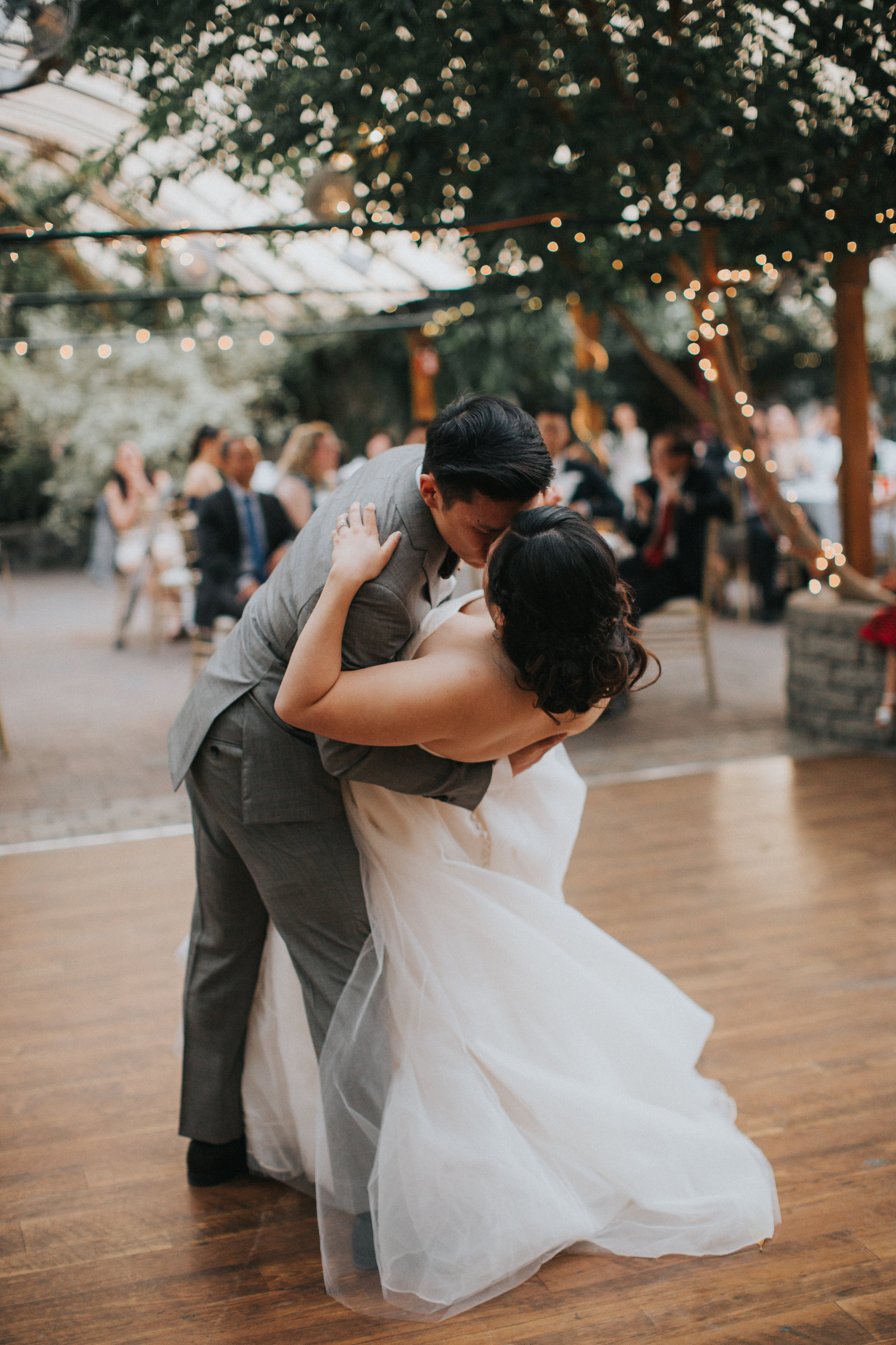 bride and groom first dance at Madsen's gardens in Newmarket Ontario